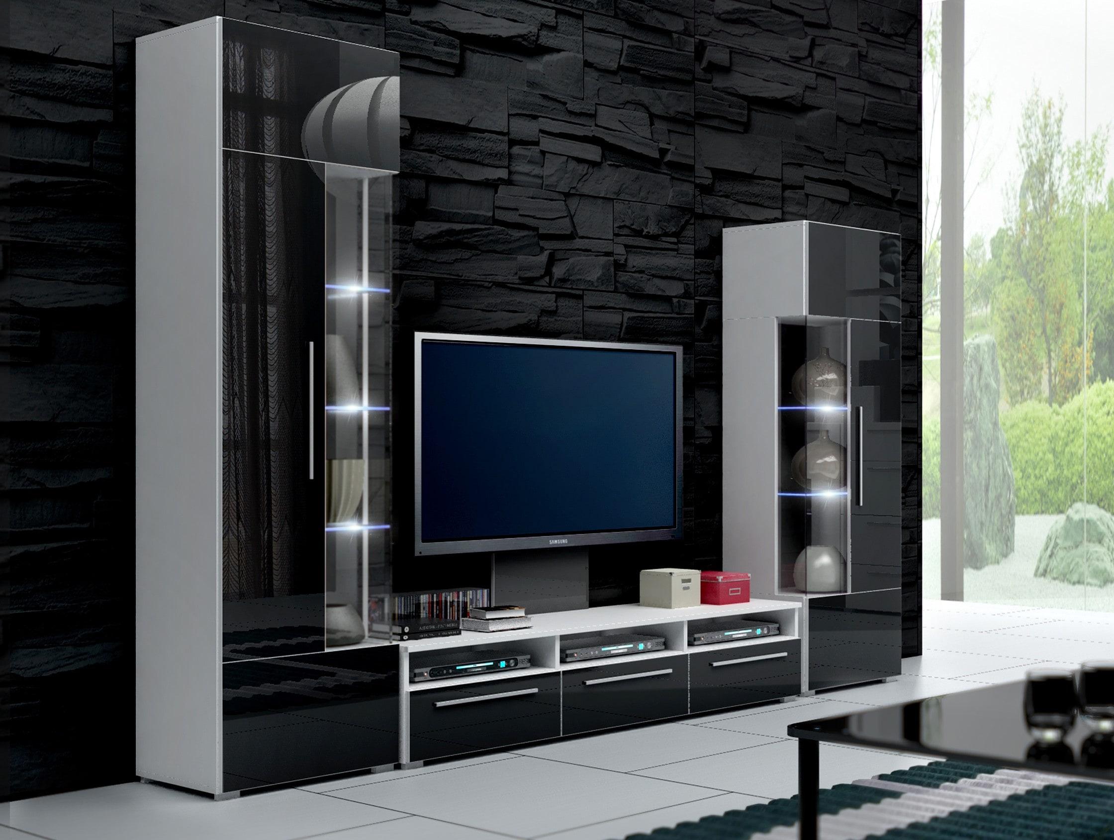 Obývací stěna - Ramon II (bílá + černá) (s osvětlením)
