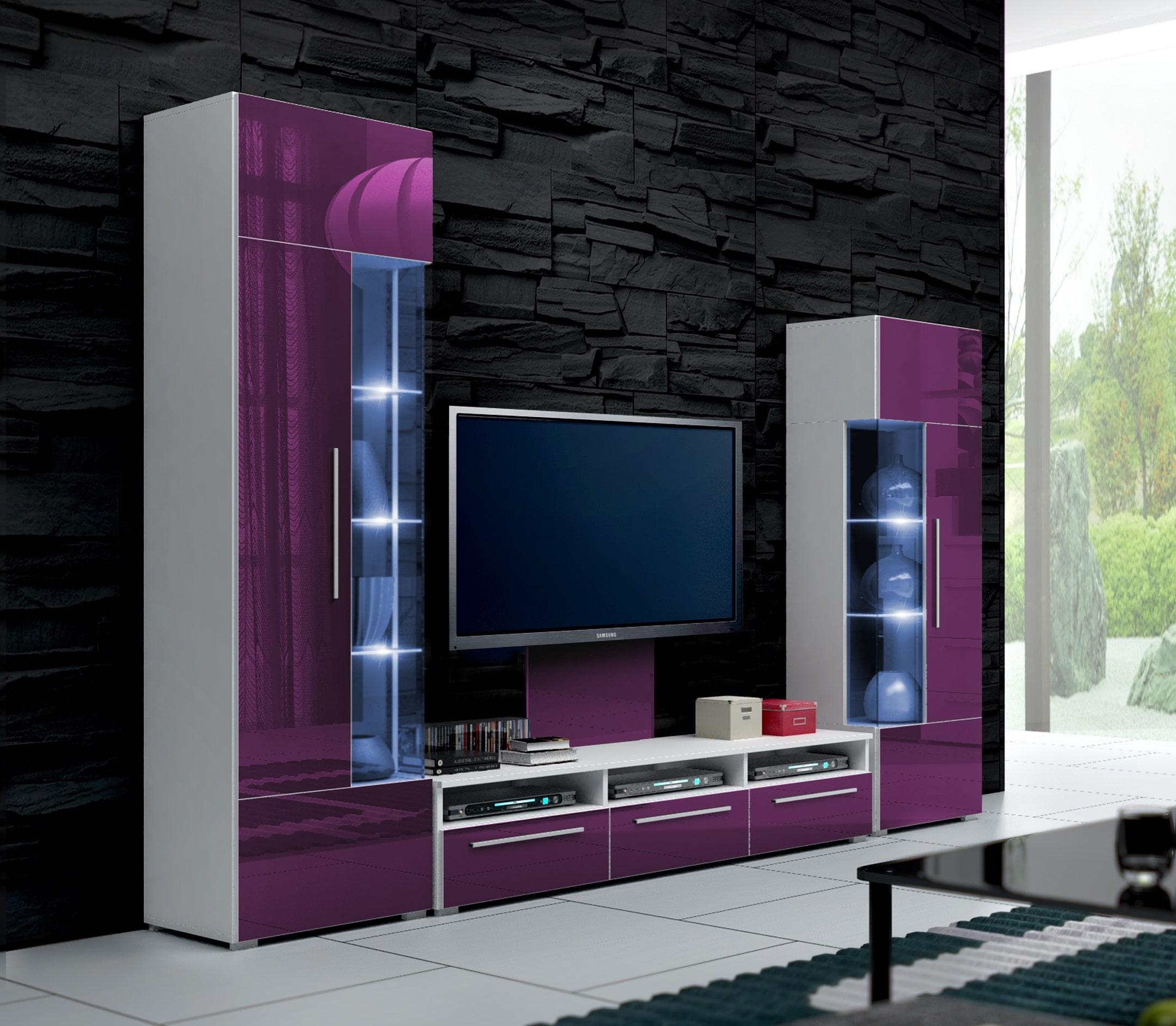 Obývací stěna - Ramon II (bílá + fialová) (s osvětlením)
