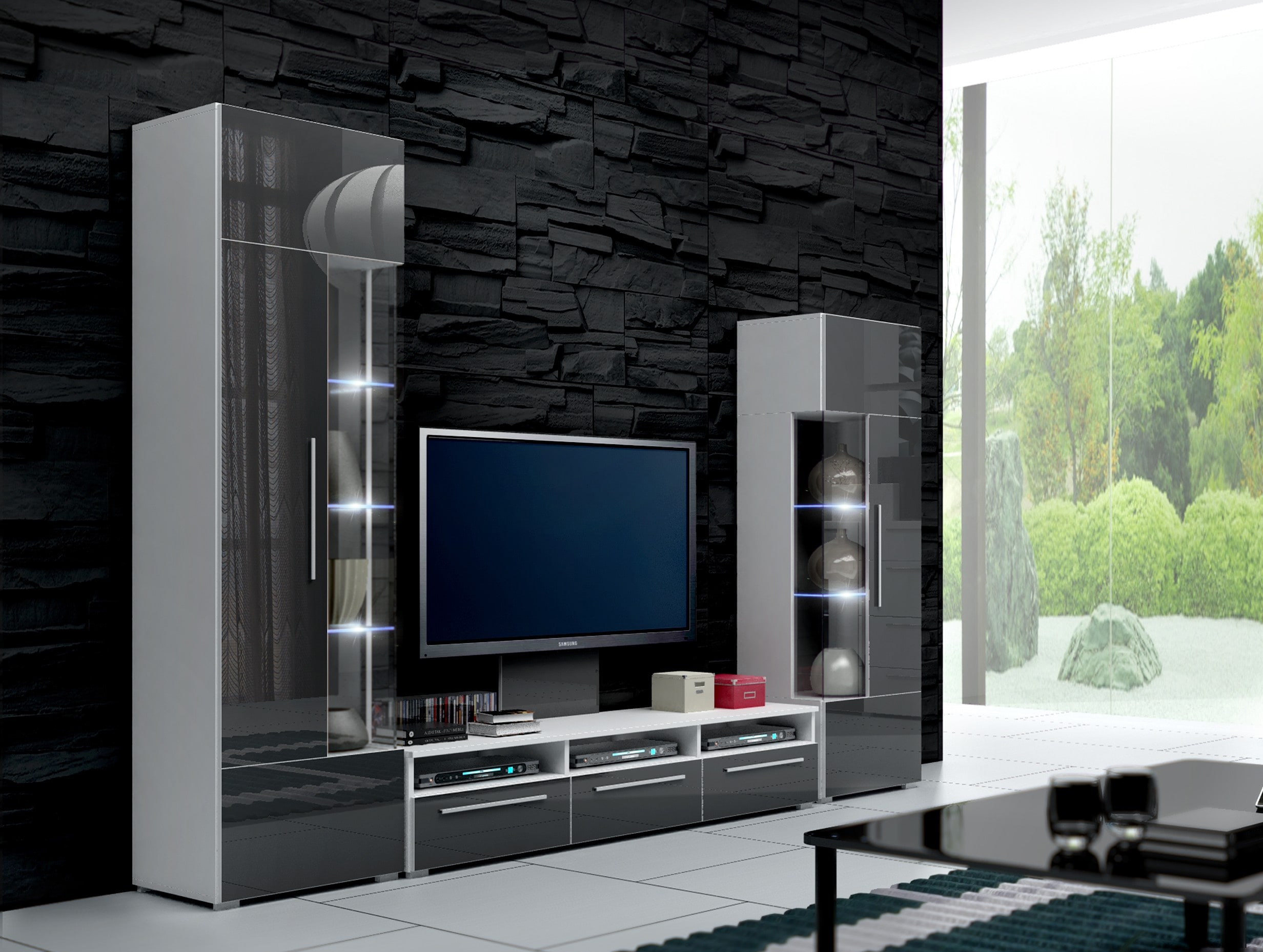 Obývací stěna - Ramon II (bílá + šedá) (s osvětlením)