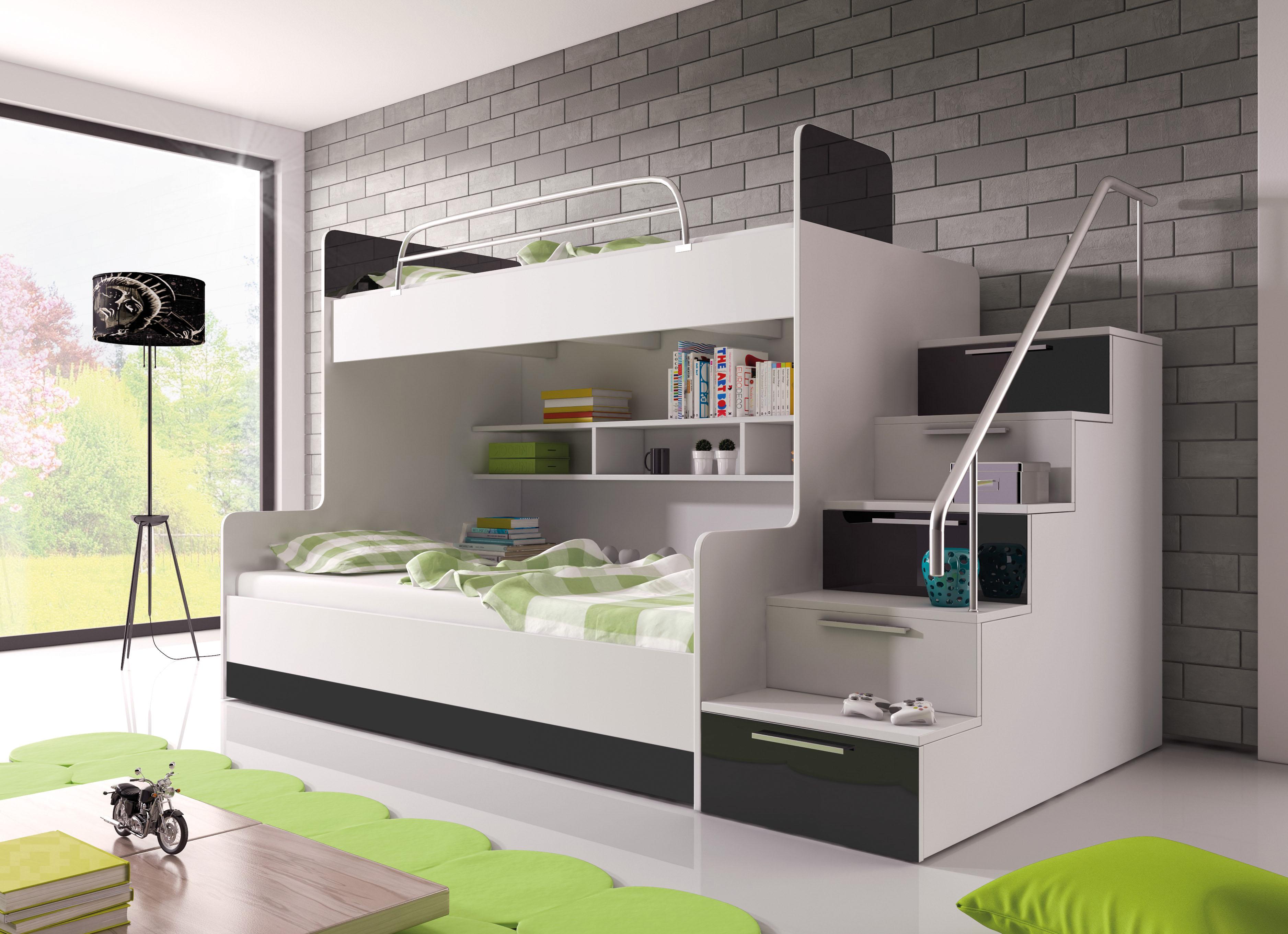 Patrová postel - Ruby II (bílá + černá) (s matrací a roštem)