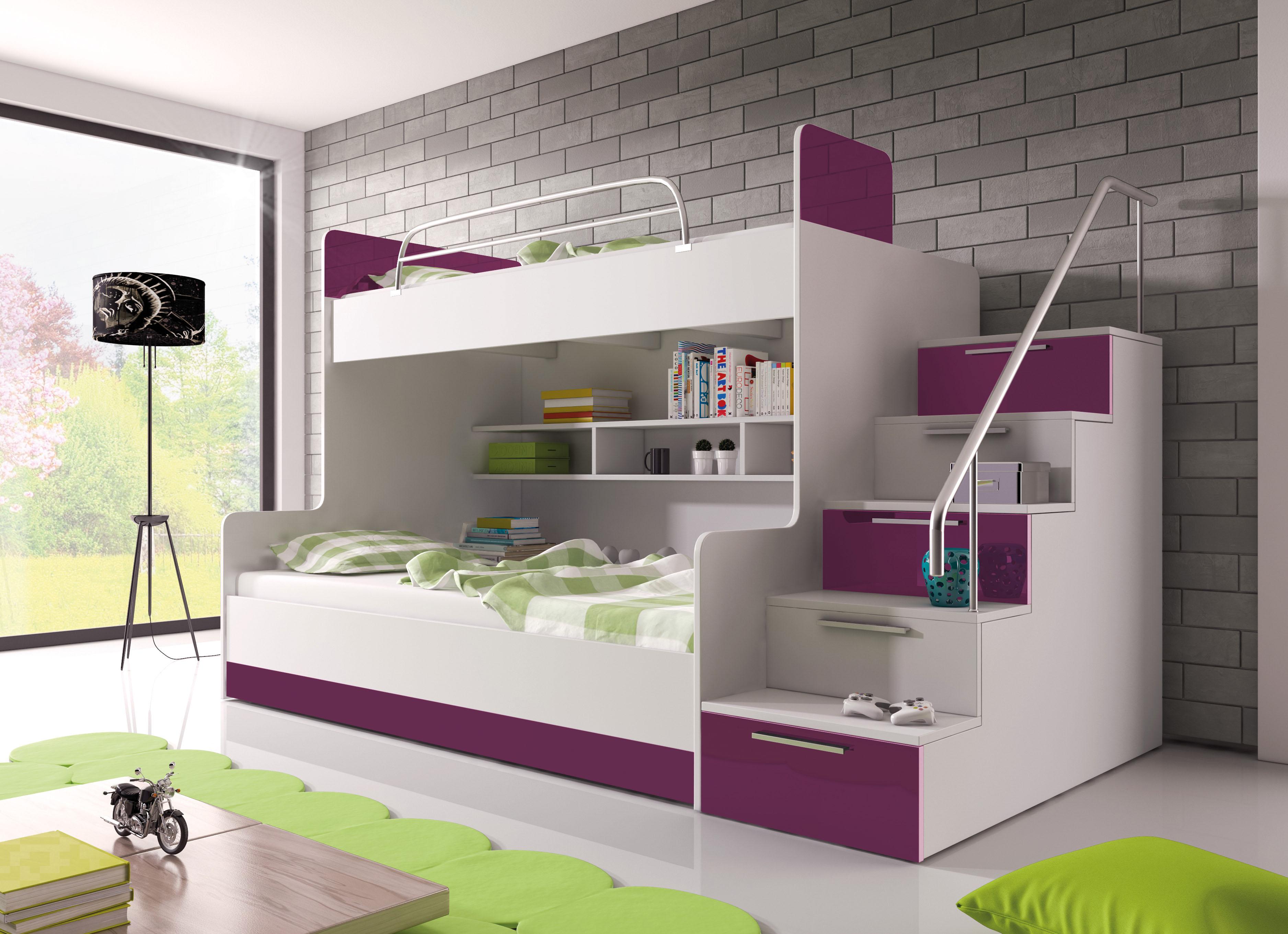 Patrová postel - Ruby II (bílá + fialová) (s matrací a roštem)