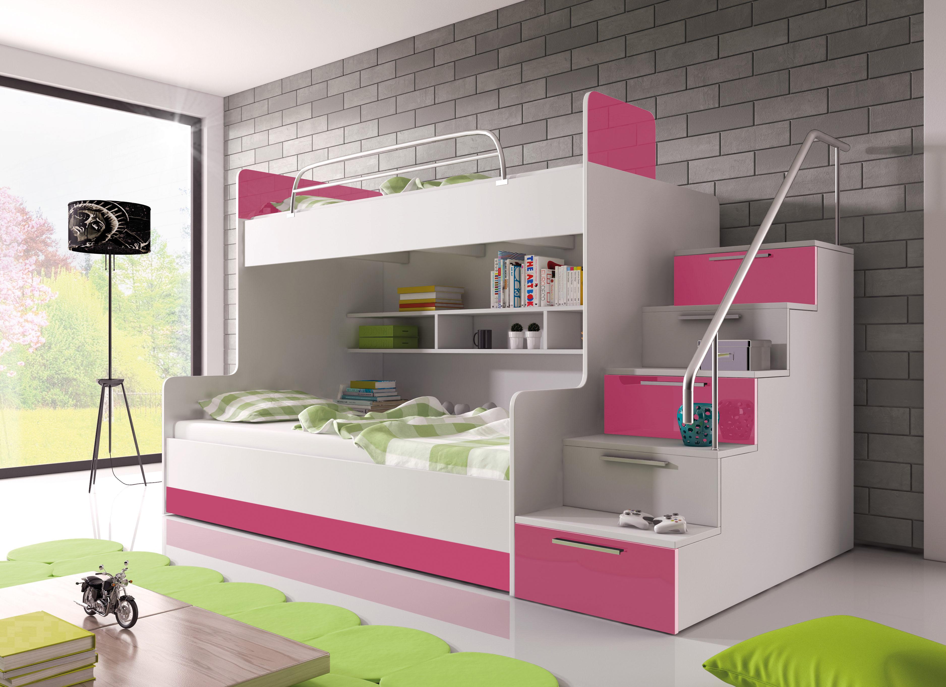 Patrová postel - Ruby II (bílá + růžová) (s matrací a roštem)