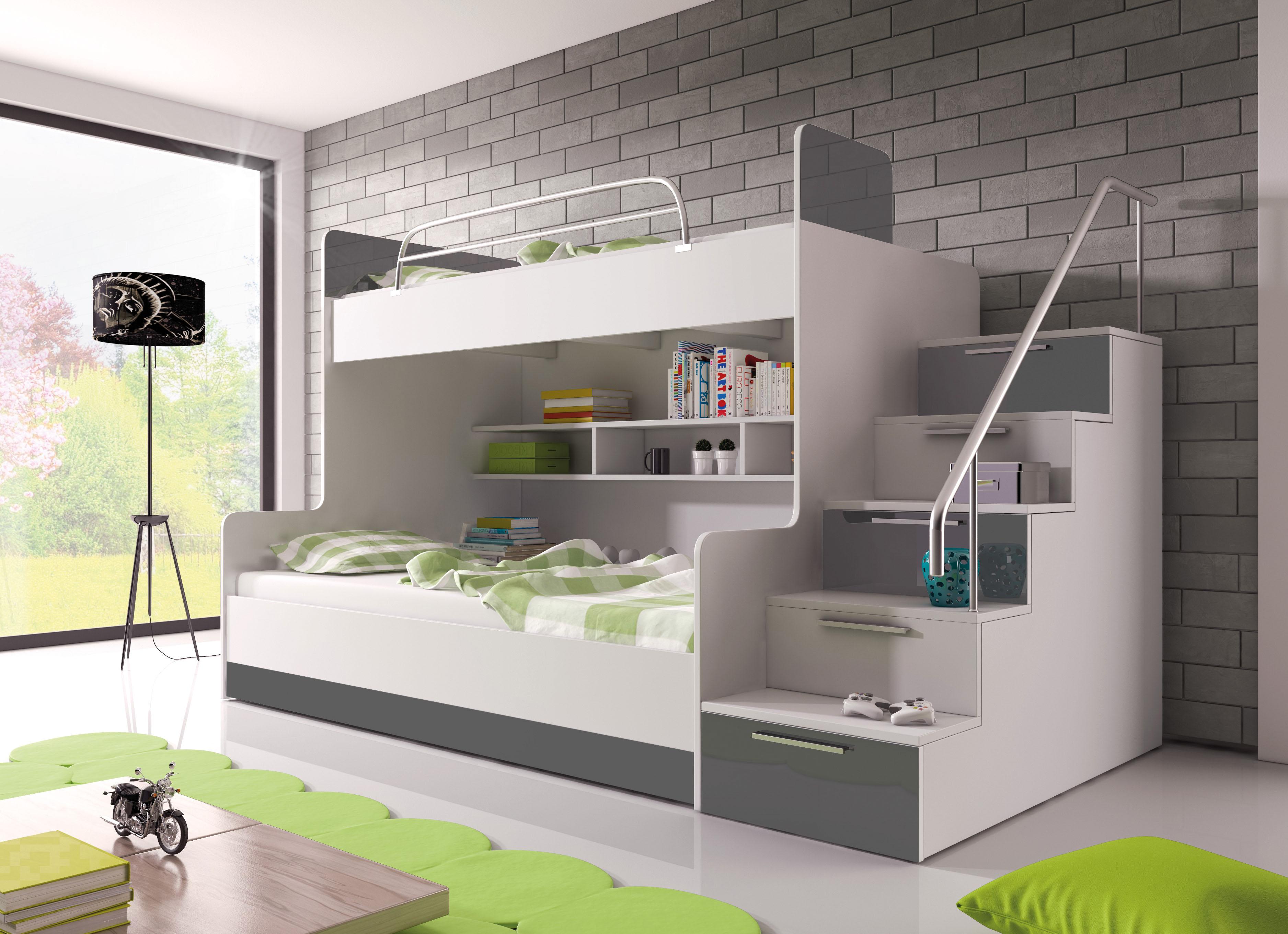 Patrová postel - Ruby II (bílá + šedá) (s matrací a roštem)