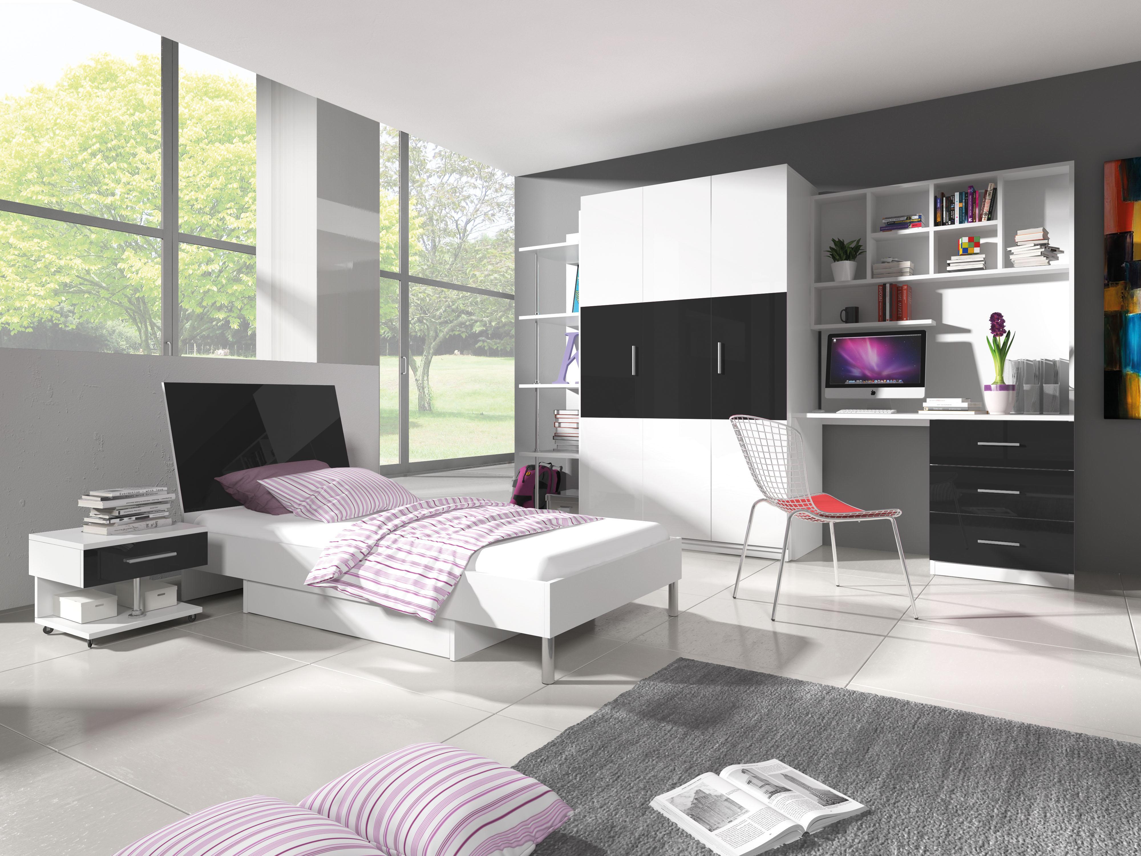 Studentský pokoj - Ruby III (bílá + černá)