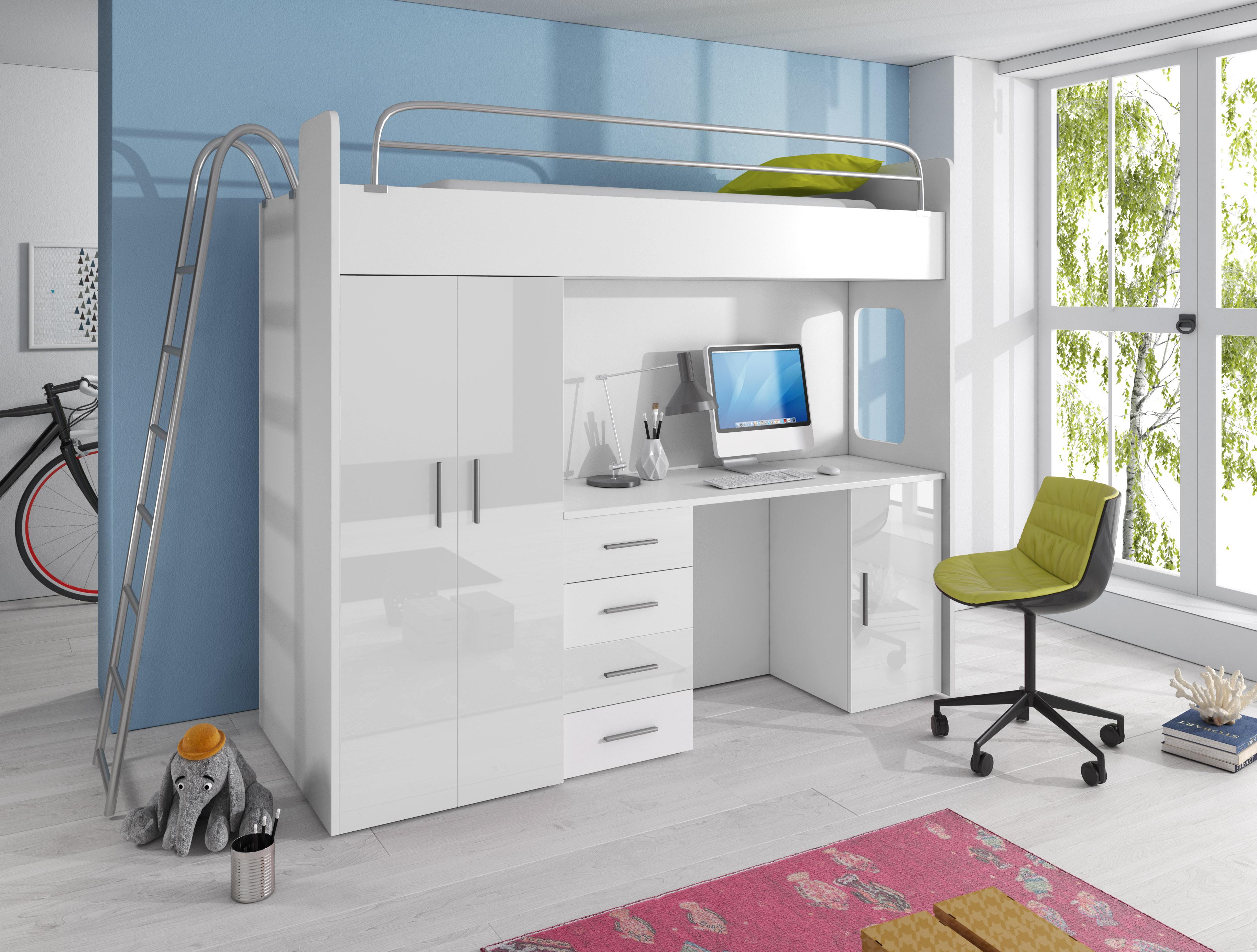 Dětská postel - Ruby IV D (Bílá + Bílá) (s matrací a roštem)