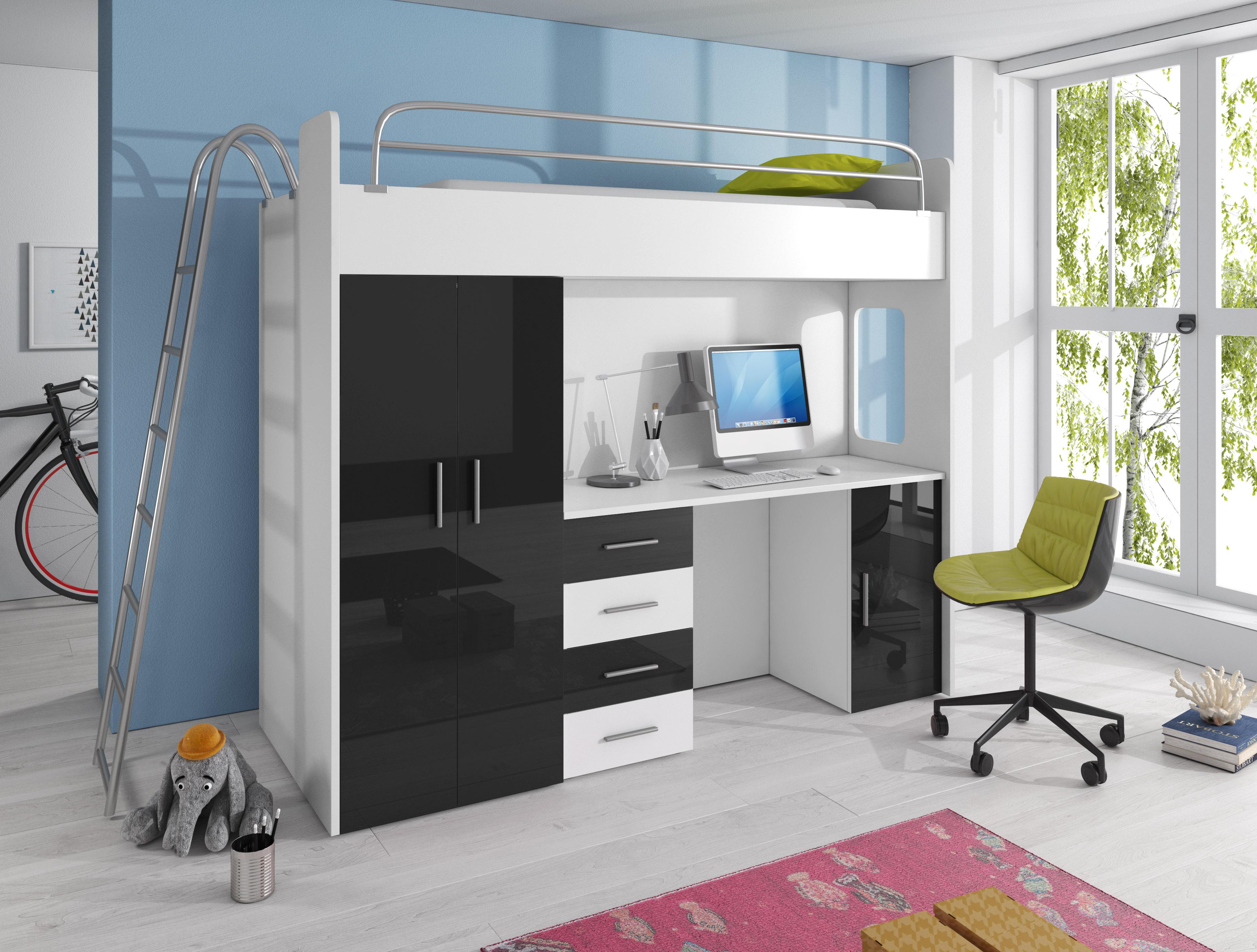 Dětská postel - Ruby IV D (Bílá + Černá) (s matrací a roštem)