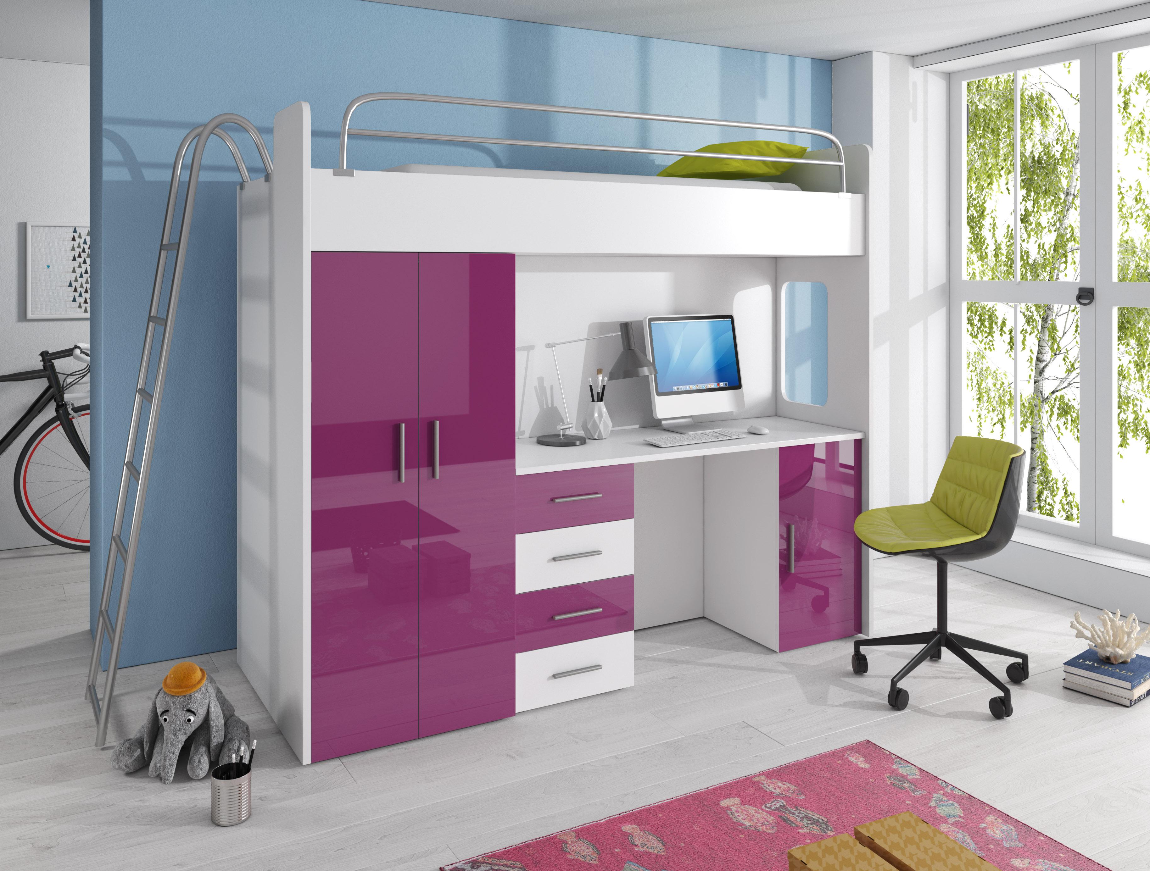 Dětská postel - Ruby IV D (Bílá + Fialová) (s matrací a roštem)