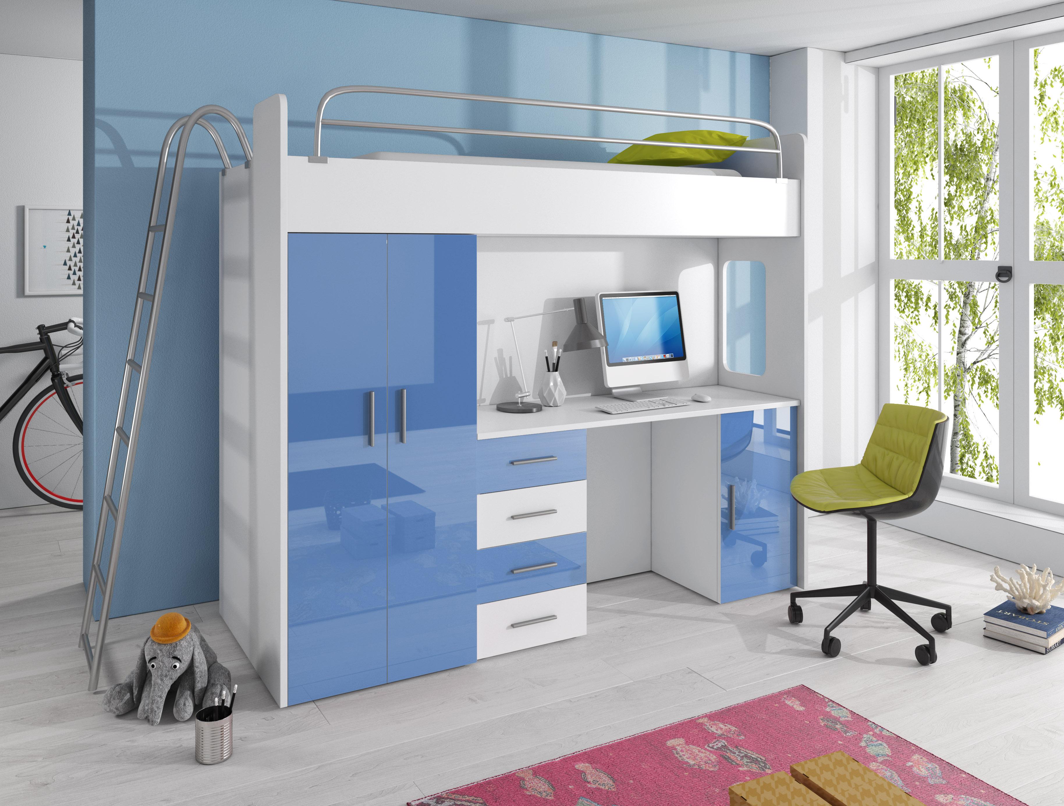 Dětská postel - Ruby IV D (Bílá + Modrá) (s matrací a roštem)