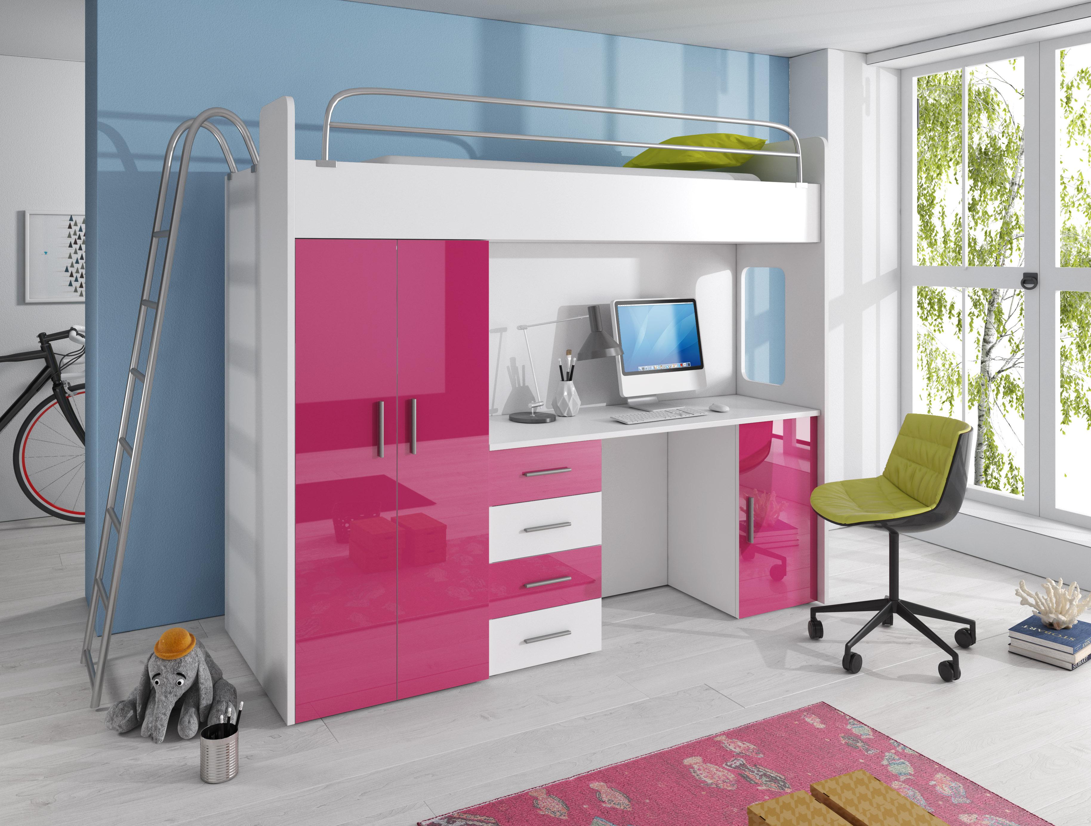 Dětská postel - Ruby IV D (Bílá + Růžová) (s matrací a roštem)
