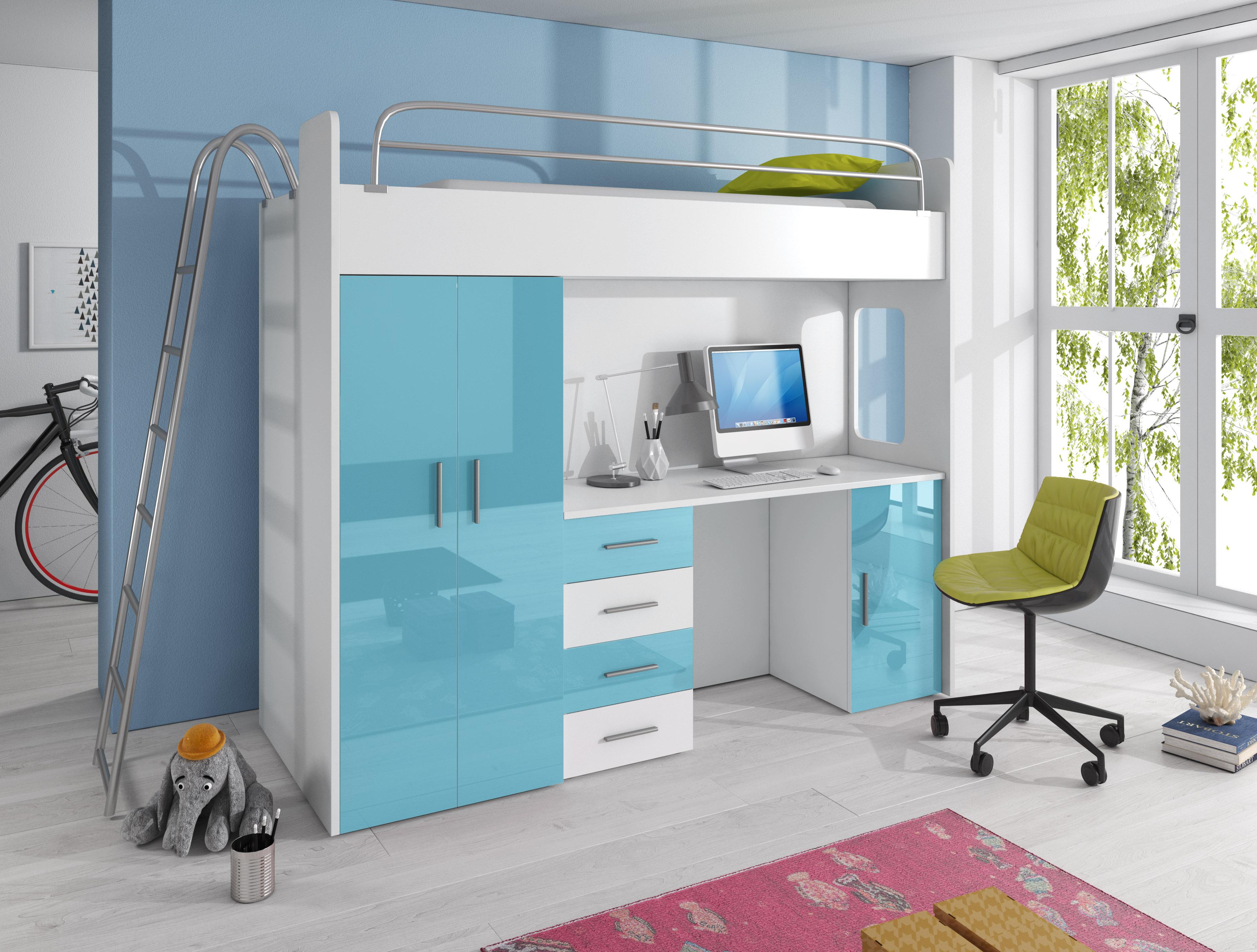 Dětská postel - Ruby IV D (Bílá + Tyrkysová) (s matrací a roštem)