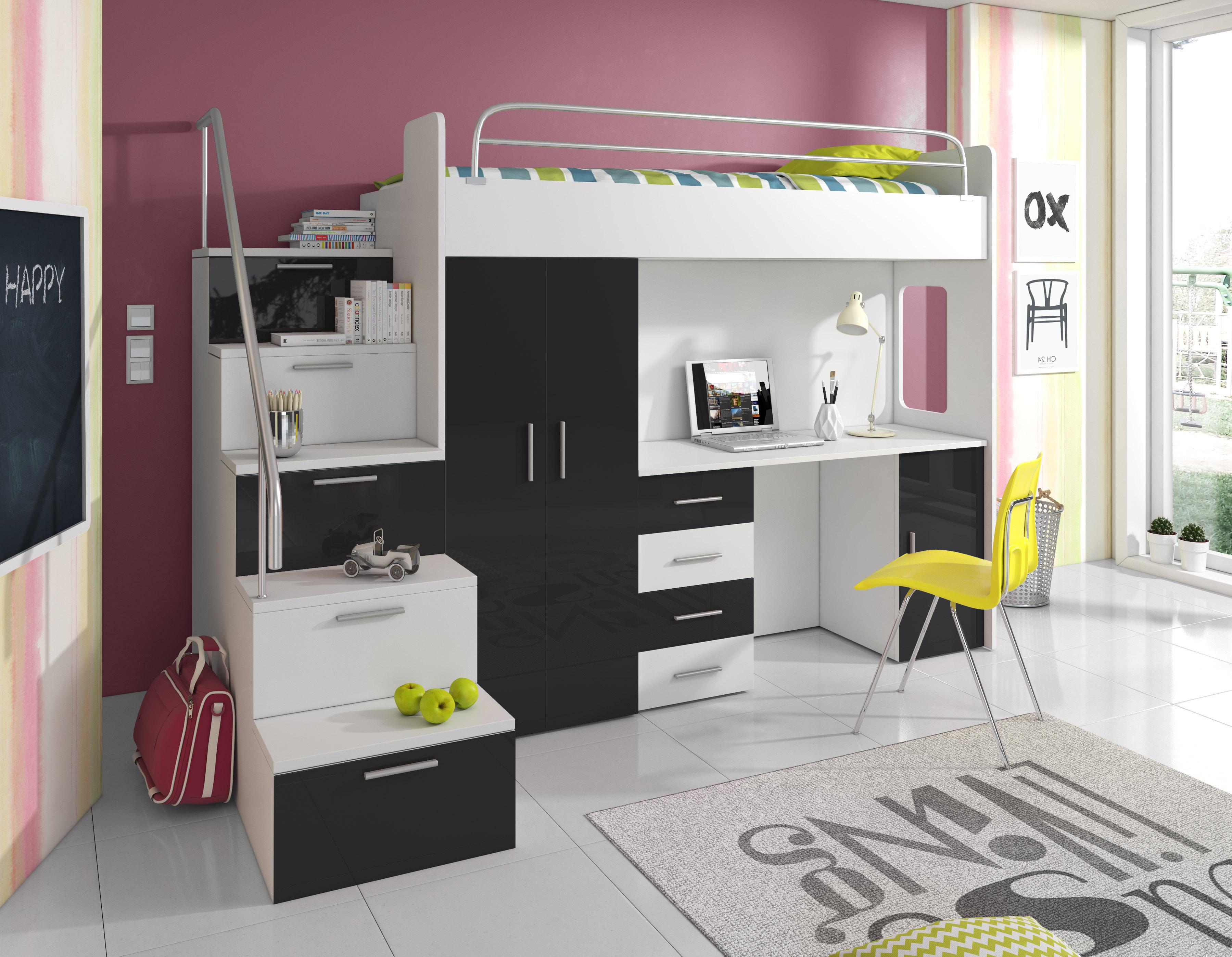 Dětská postel - Ruby IV S (Bílá + Černá) (s matrací a roštem)