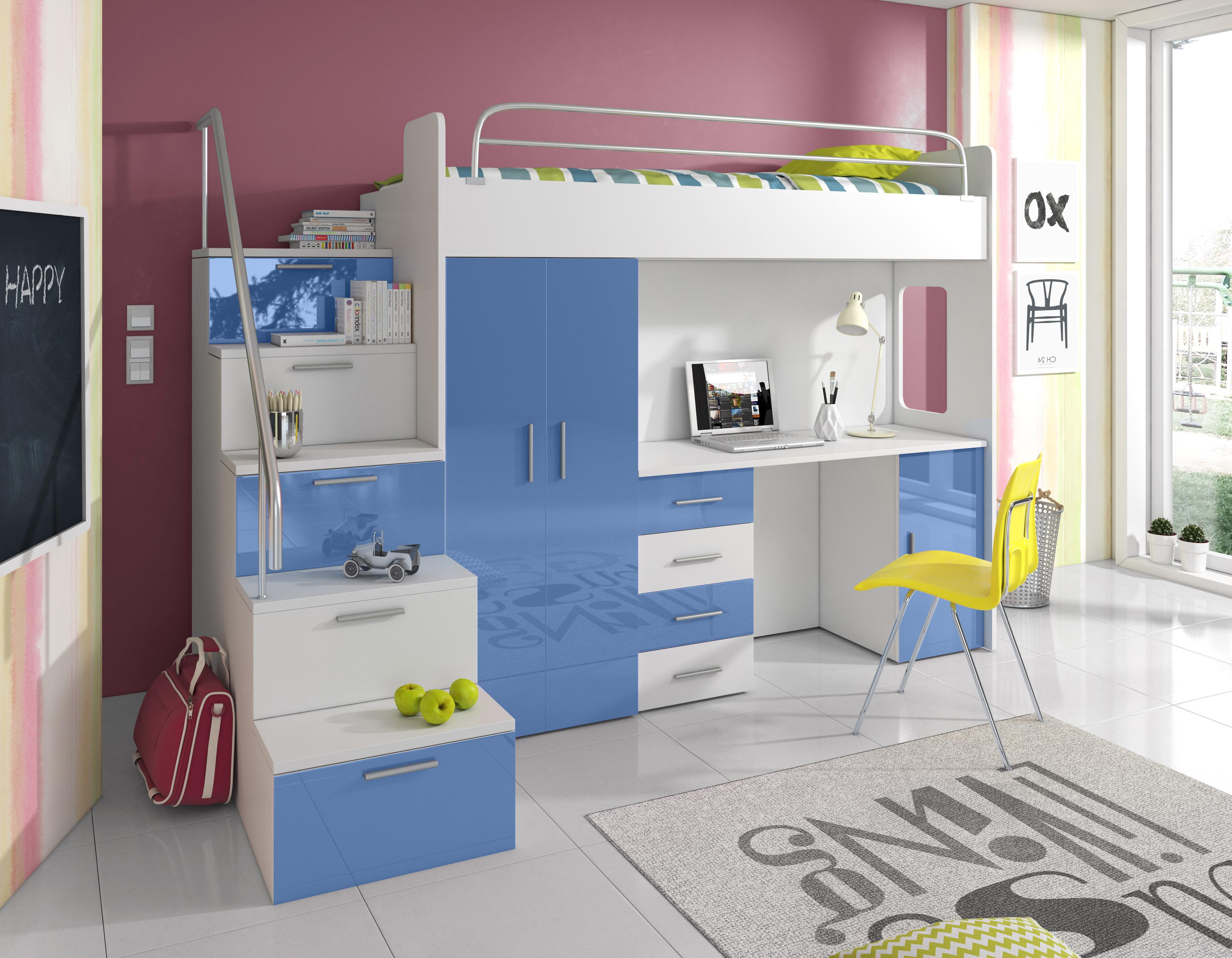 Dětská postel - Ruby IV S (Bílá + Modrá) (s matrací a roštem)