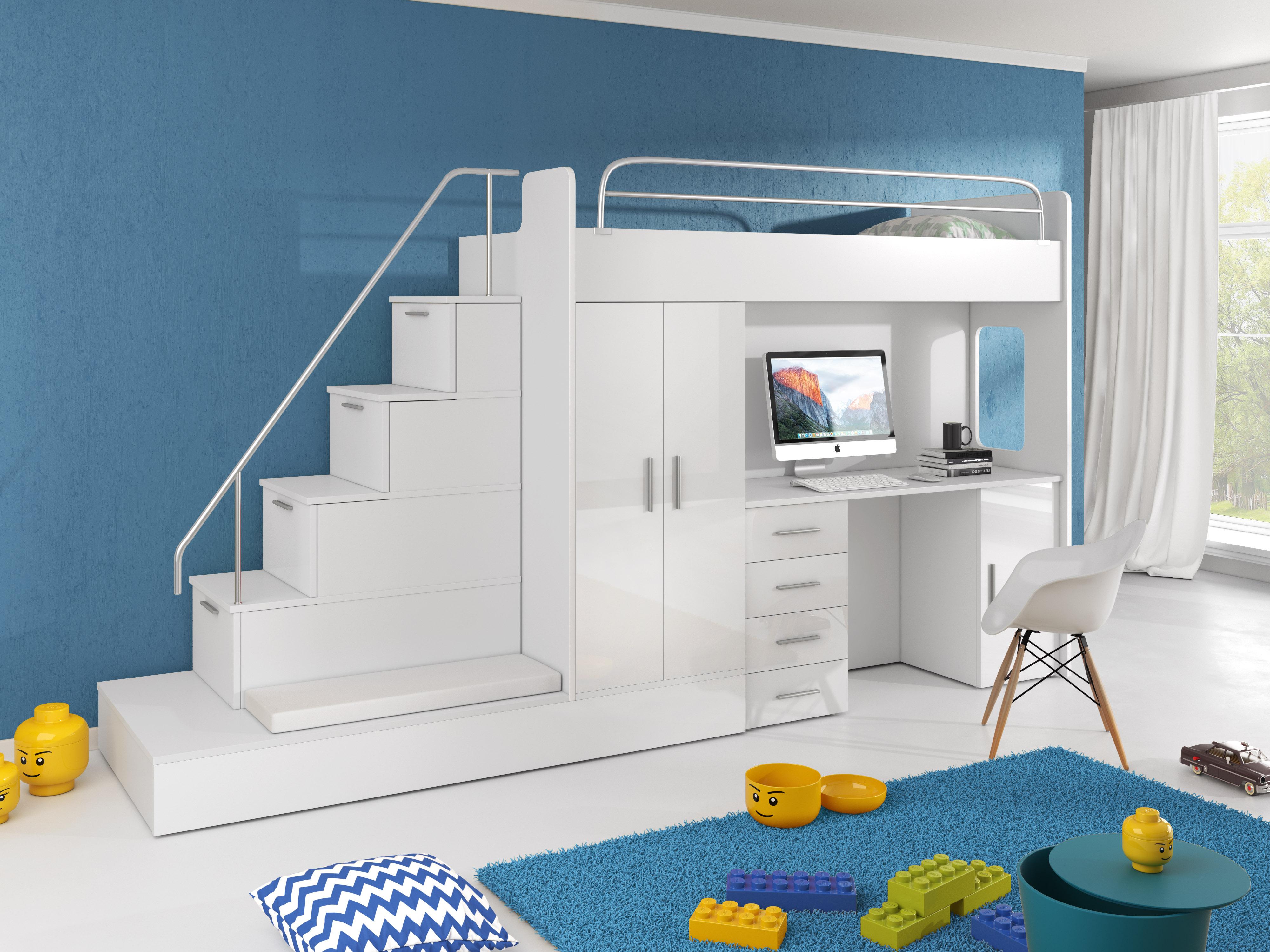 Dětská postel - Ruby V (Bílá + Bílá) (s matrací a roštem)