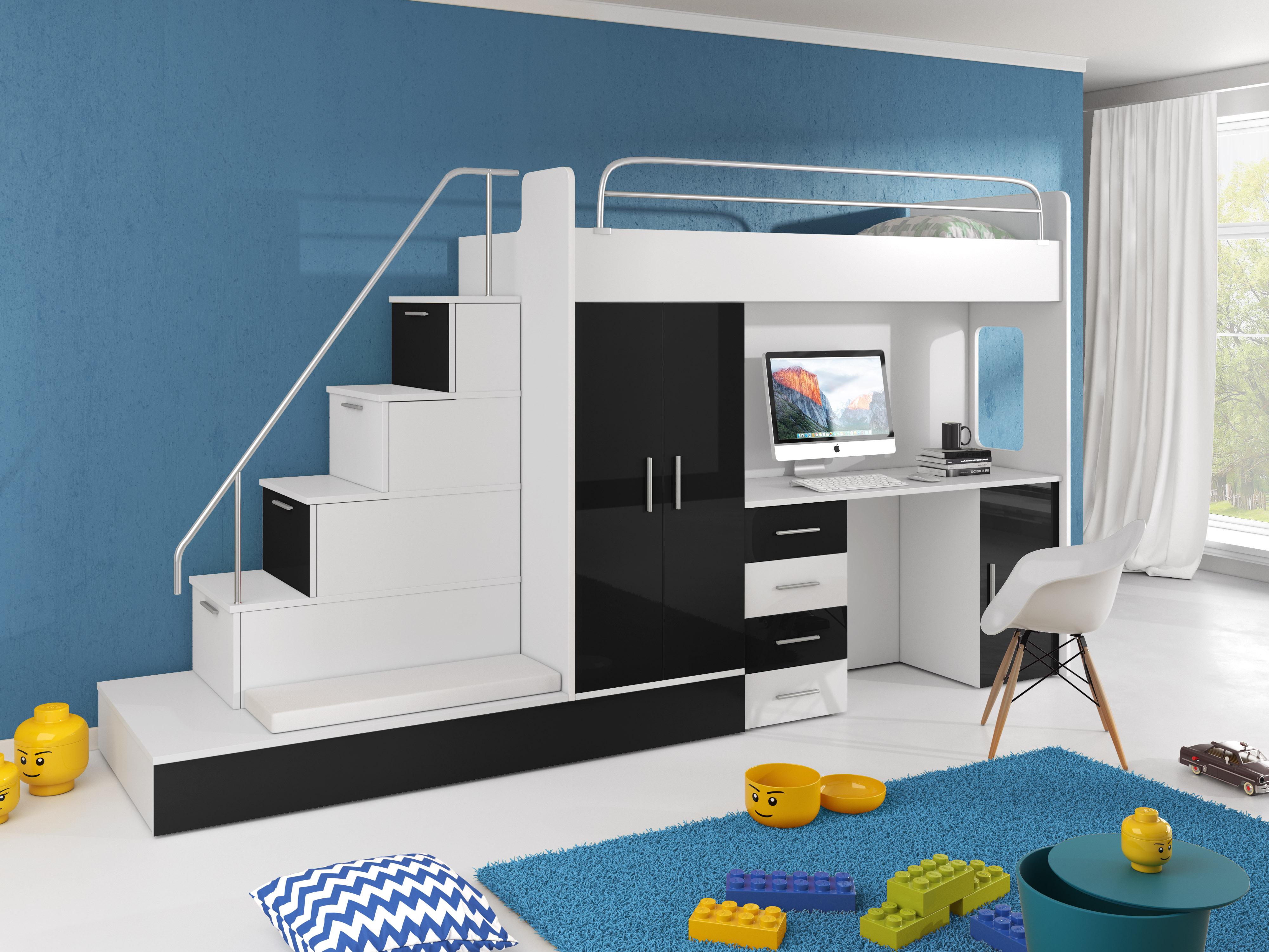 Dětská postel - Ruby V (Bílá + Černá) (s matrací a roštem)