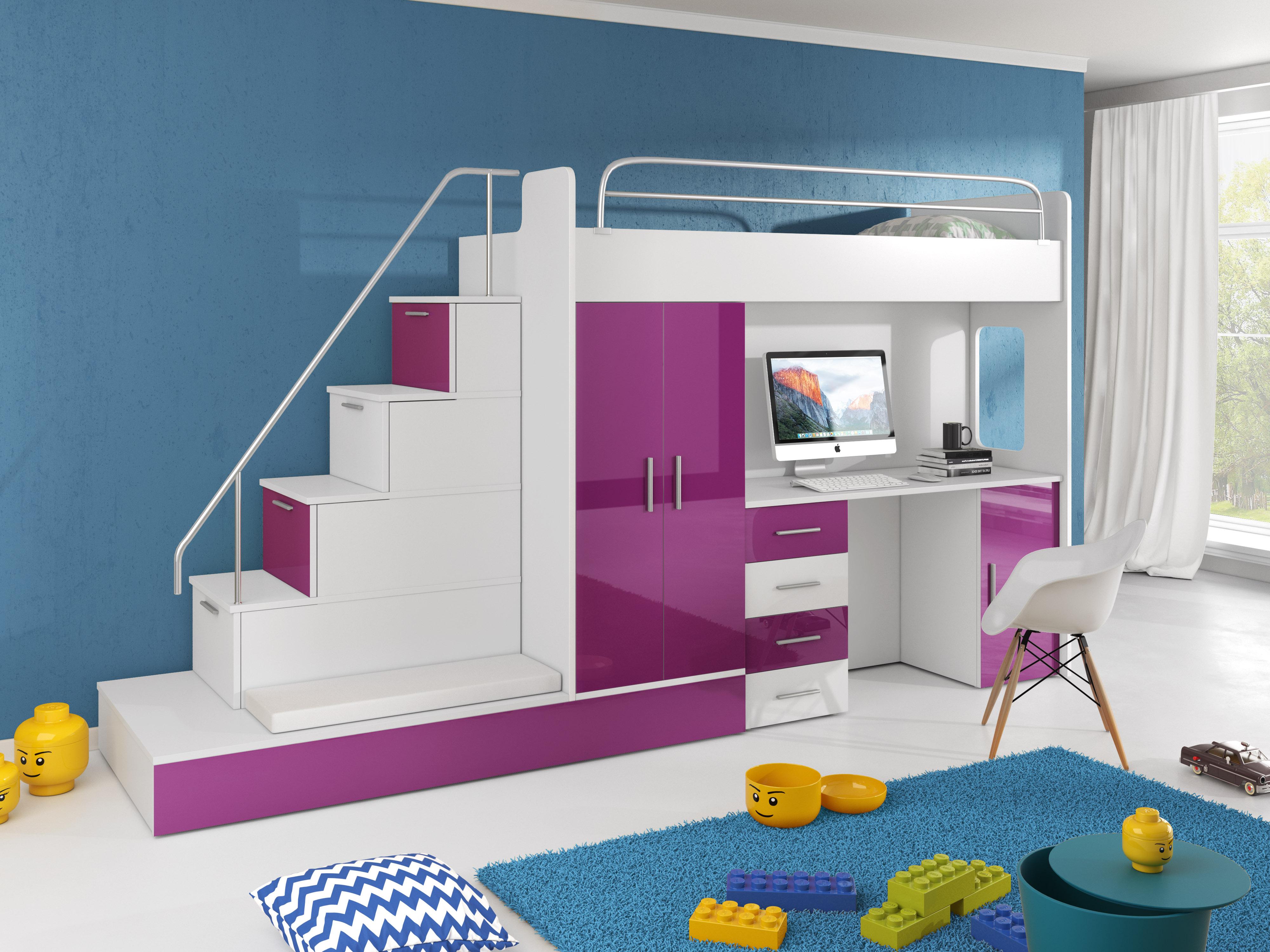 Dětská postel - Ruby V (Bílá + Fialová) (s matrací a roštem)