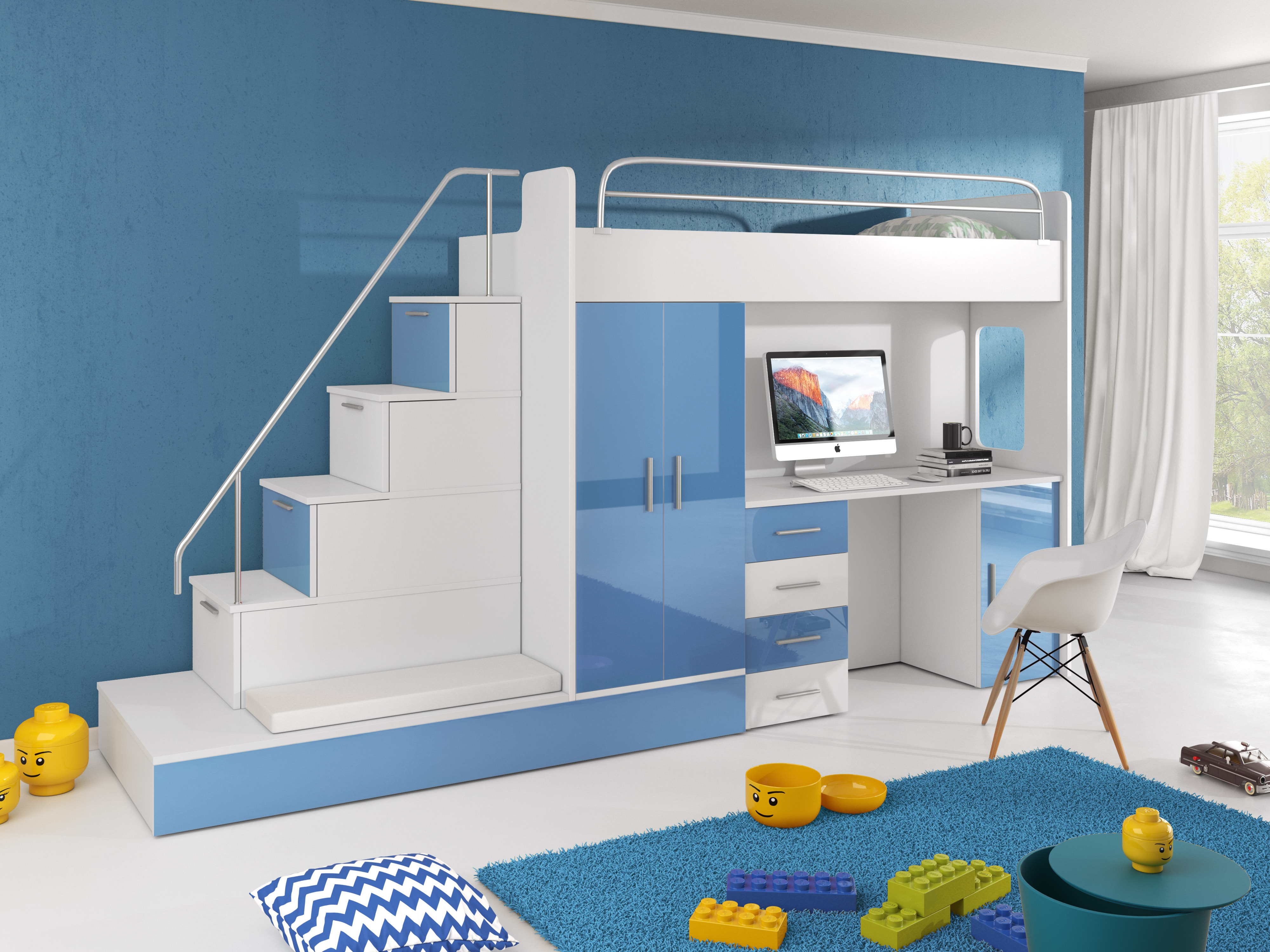 Dětská postel - Ruby V (Bílá + Modrá) (s matrací a roštem)