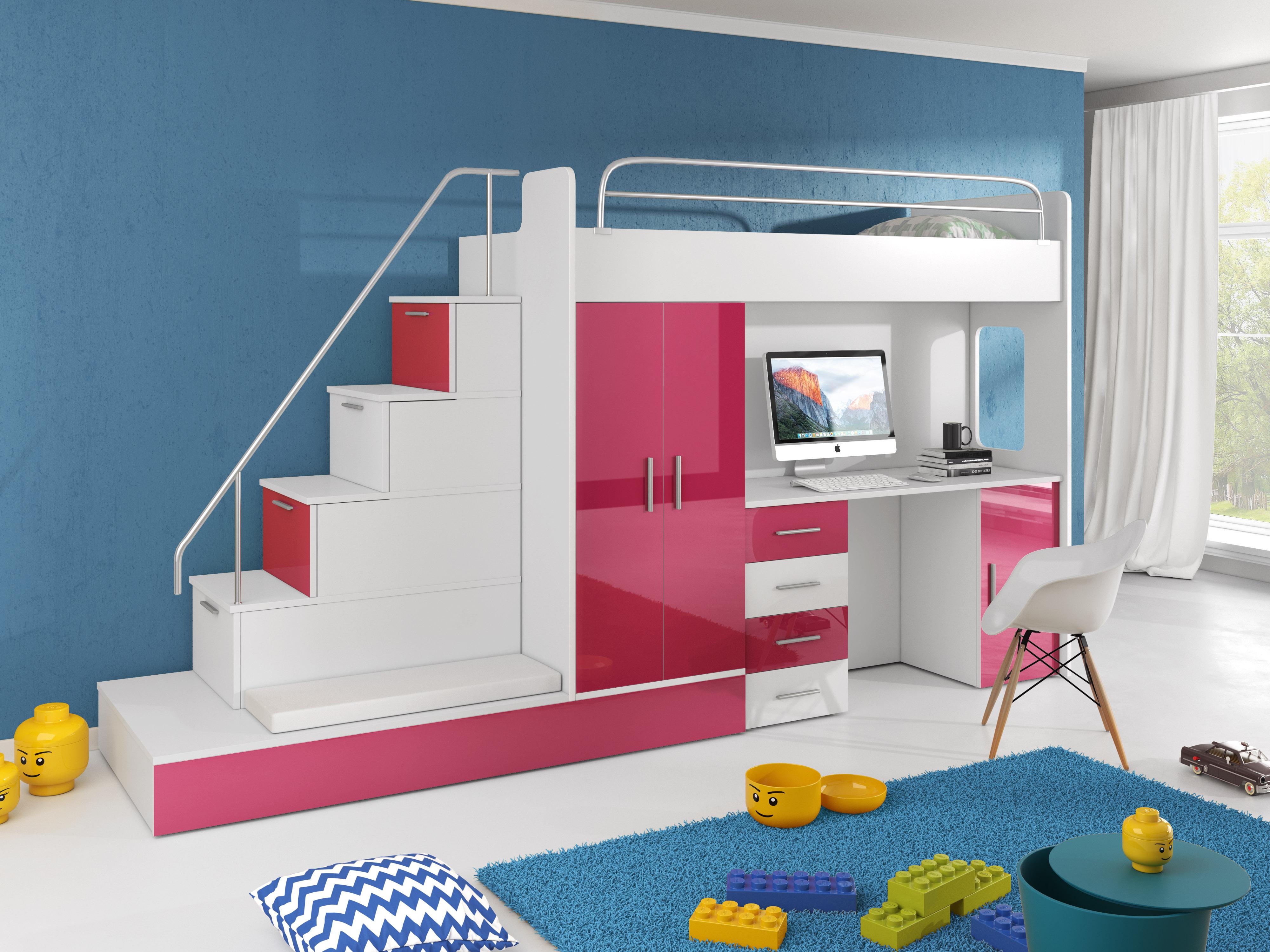 Dětská postel - Ruby V (Bílá + Růžová) (s matrací a roštem)