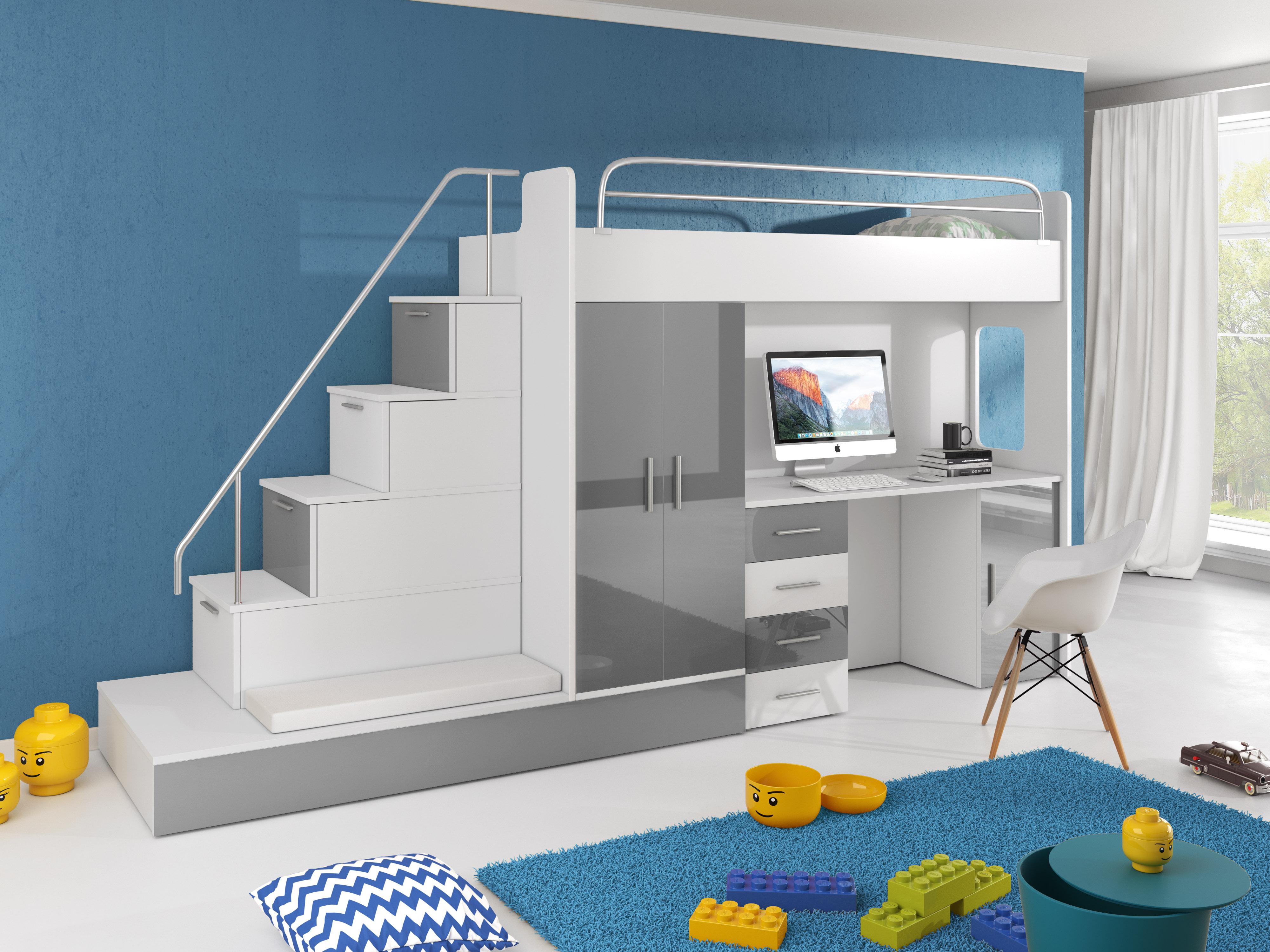 Dětská postel - Ruby V (Bílá + Šedá) (s matrací a roštem)