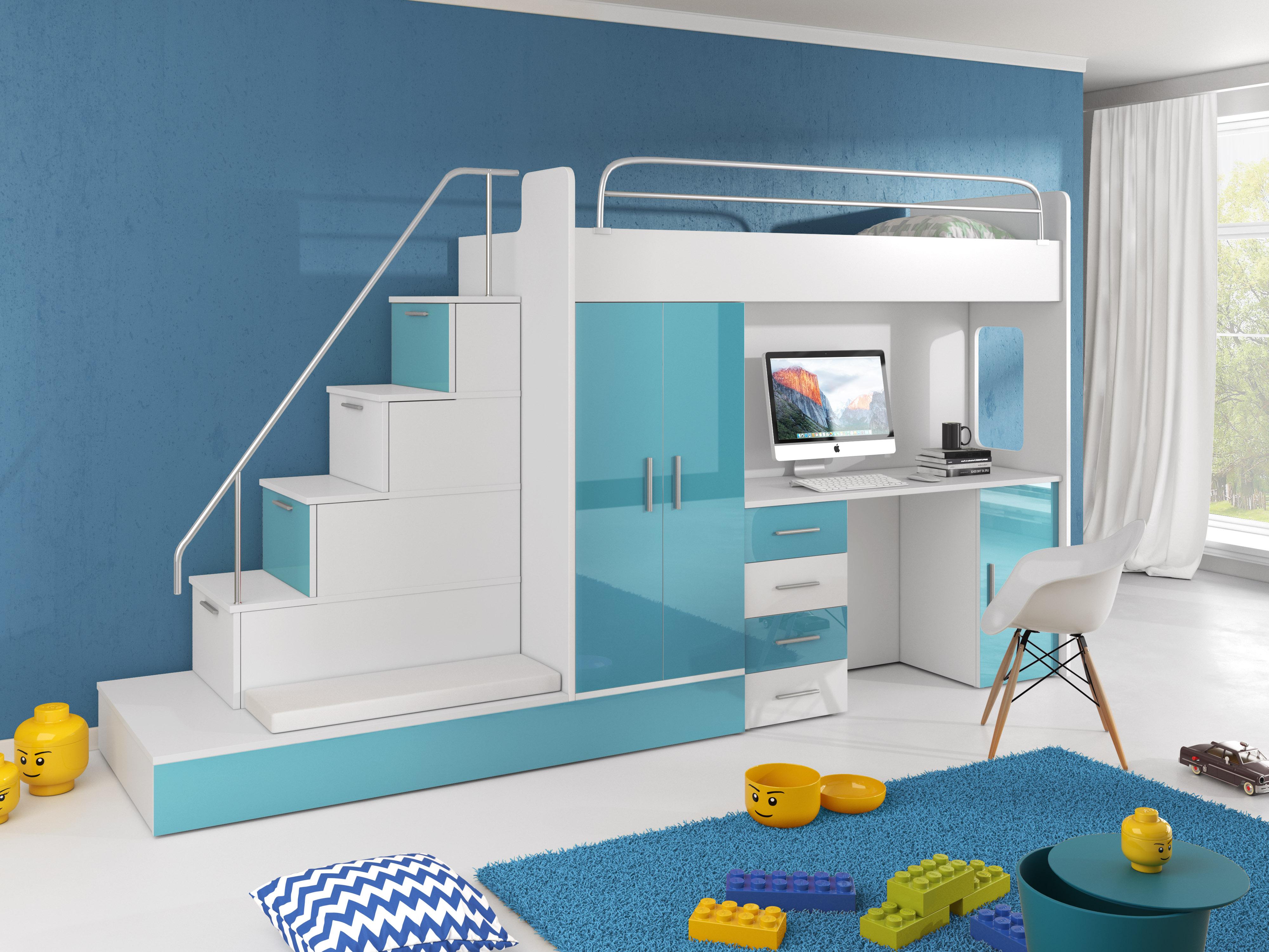 Dětská postel - Ruby V (Bílá + Tyrkysová) (s matrací a roštem)