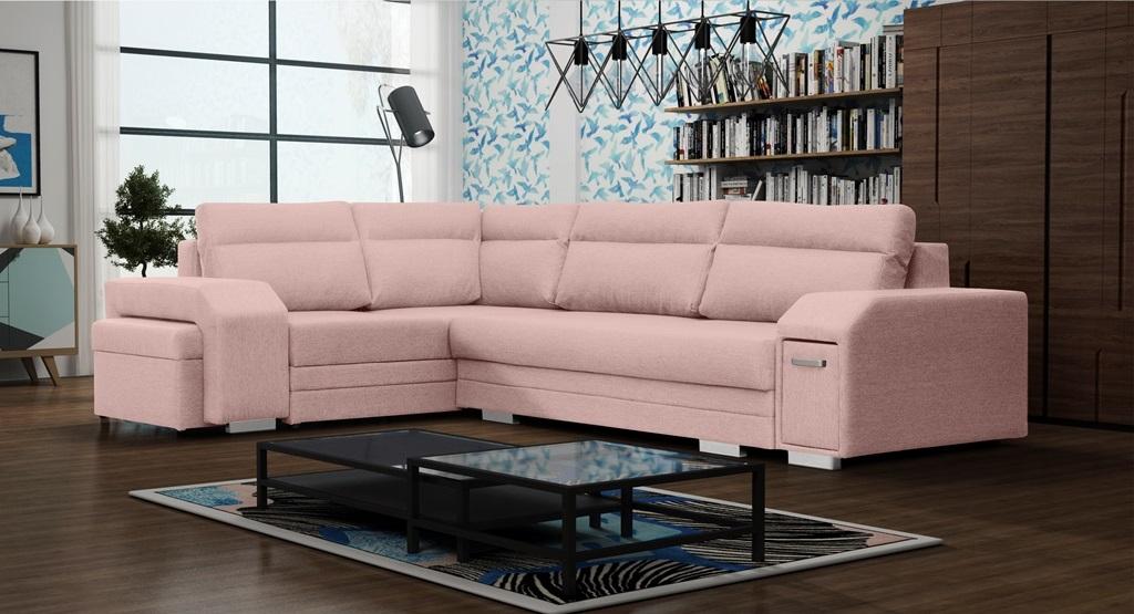Rohová sedací souprava - Alfredo (růžová) (L)