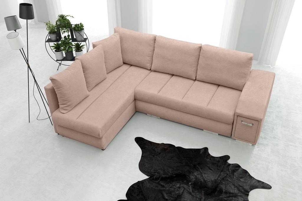 Rohová sedací souprava - Arlene (růžová) (L)