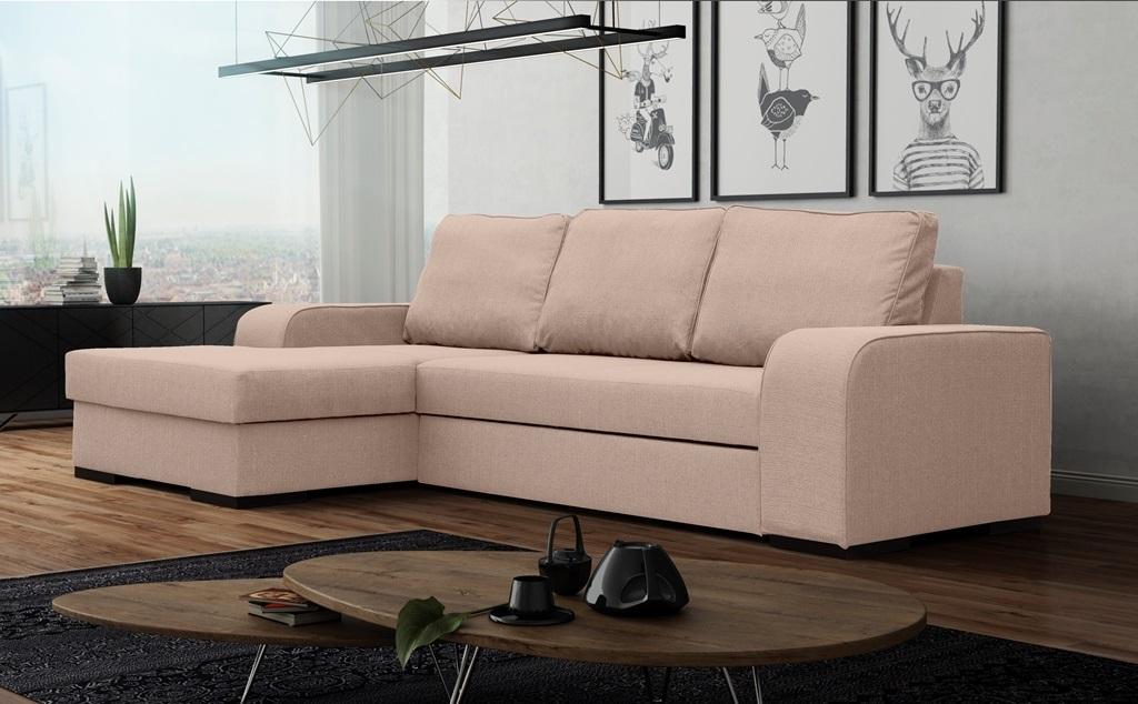 Rohová sedací souprava - Fonda (růžová) (L)