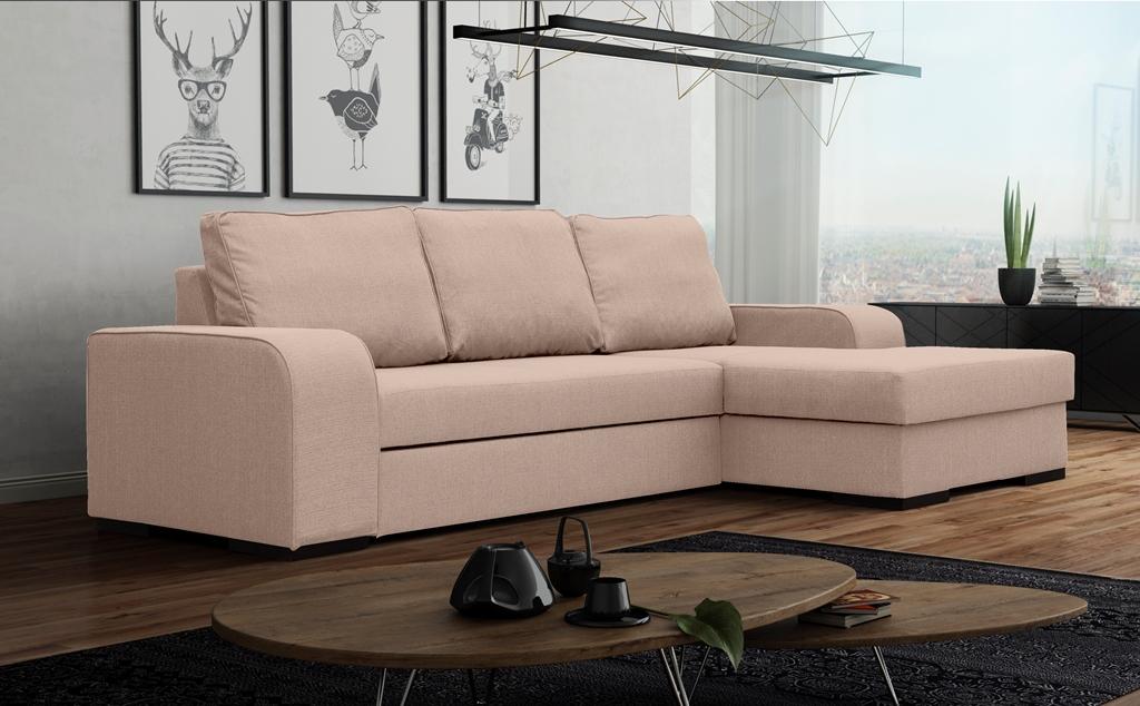 Rohová sedací souprava - Fonda (růžová (P)