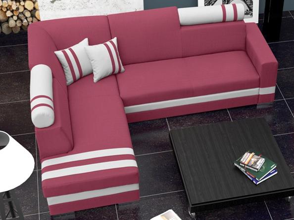 Rohová sedací souprava - Raisa (růžová + bílá) (L)