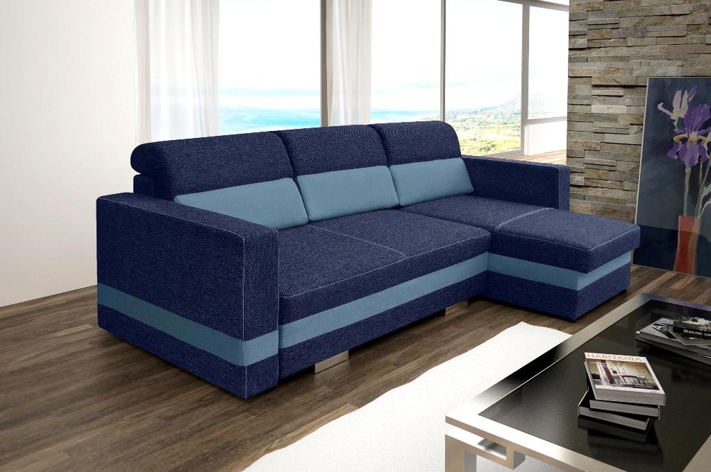 Rohová sedací souprava - Rauli (modrá) (P)