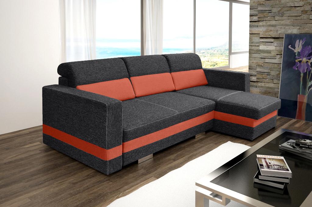 Rohová sedací souprava - Rauli (černá + oranžová) (P)