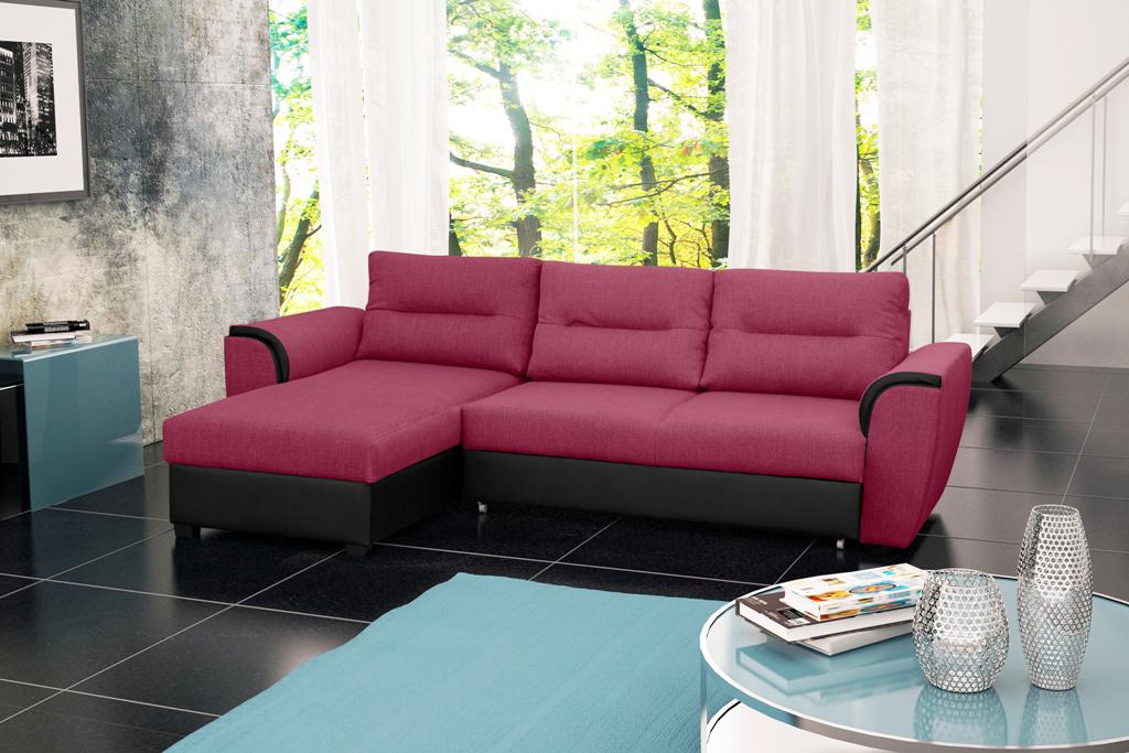 Rohová sedací souprava - Thomas (růžová + černá) (L)