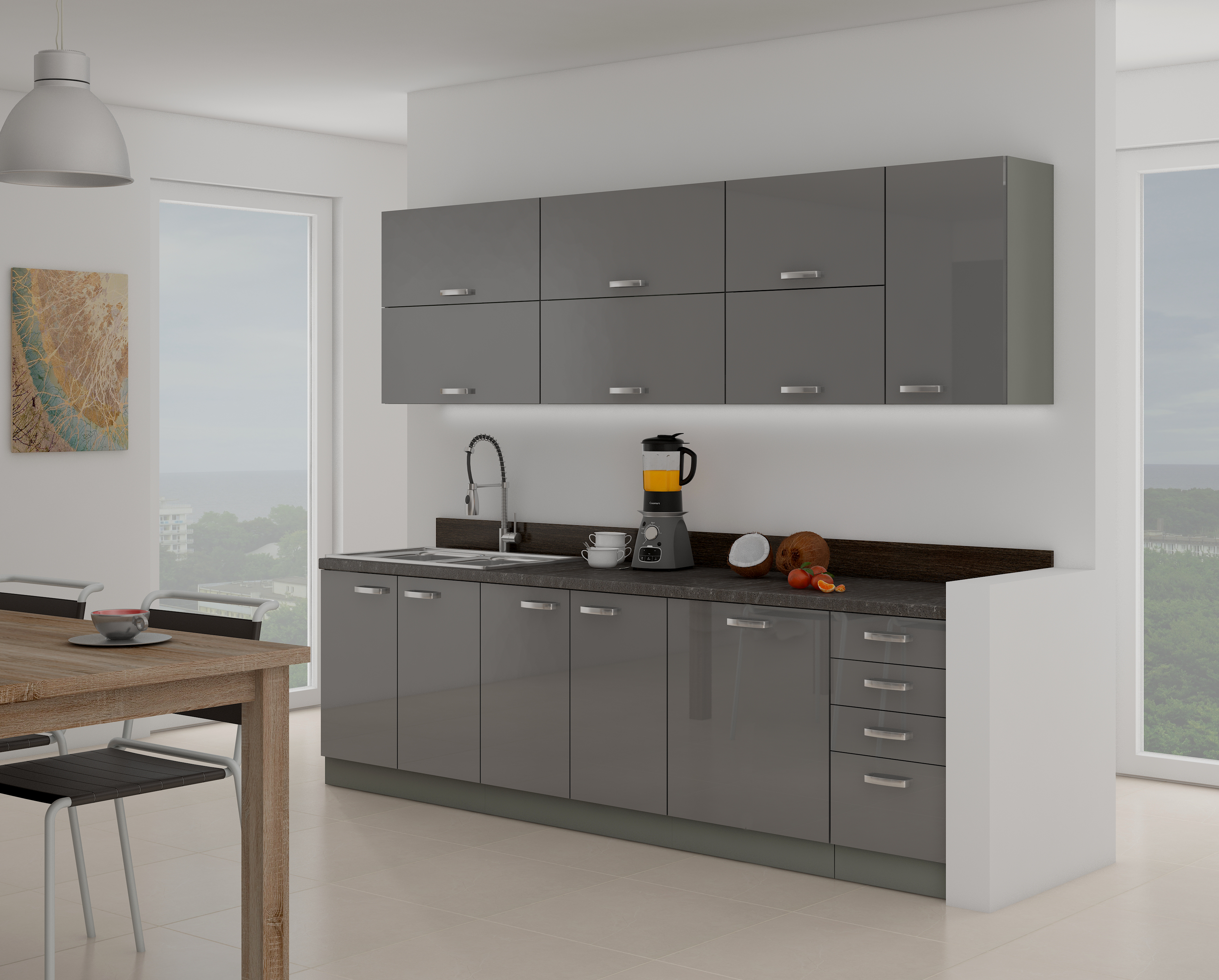 Kuchyně - Gonir 260 cm (šedá)
