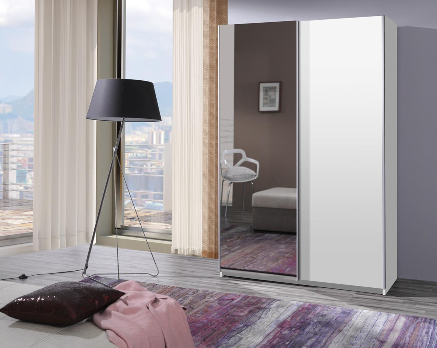 Šatní skříň - Filey - (bílá se zrcadlem)