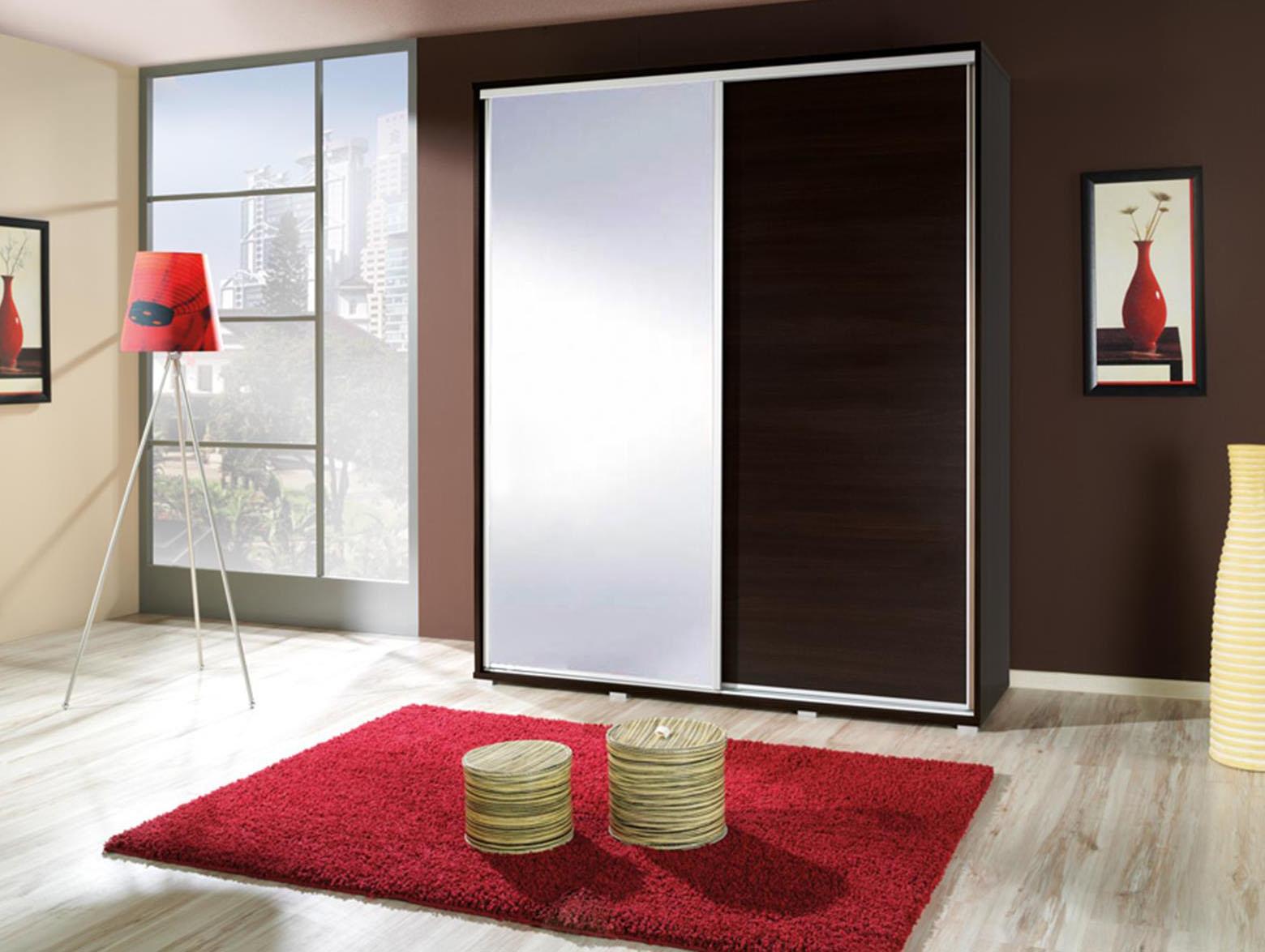 Šatní skříň - Peldon - 155 (wenge) (se zrcadlem)