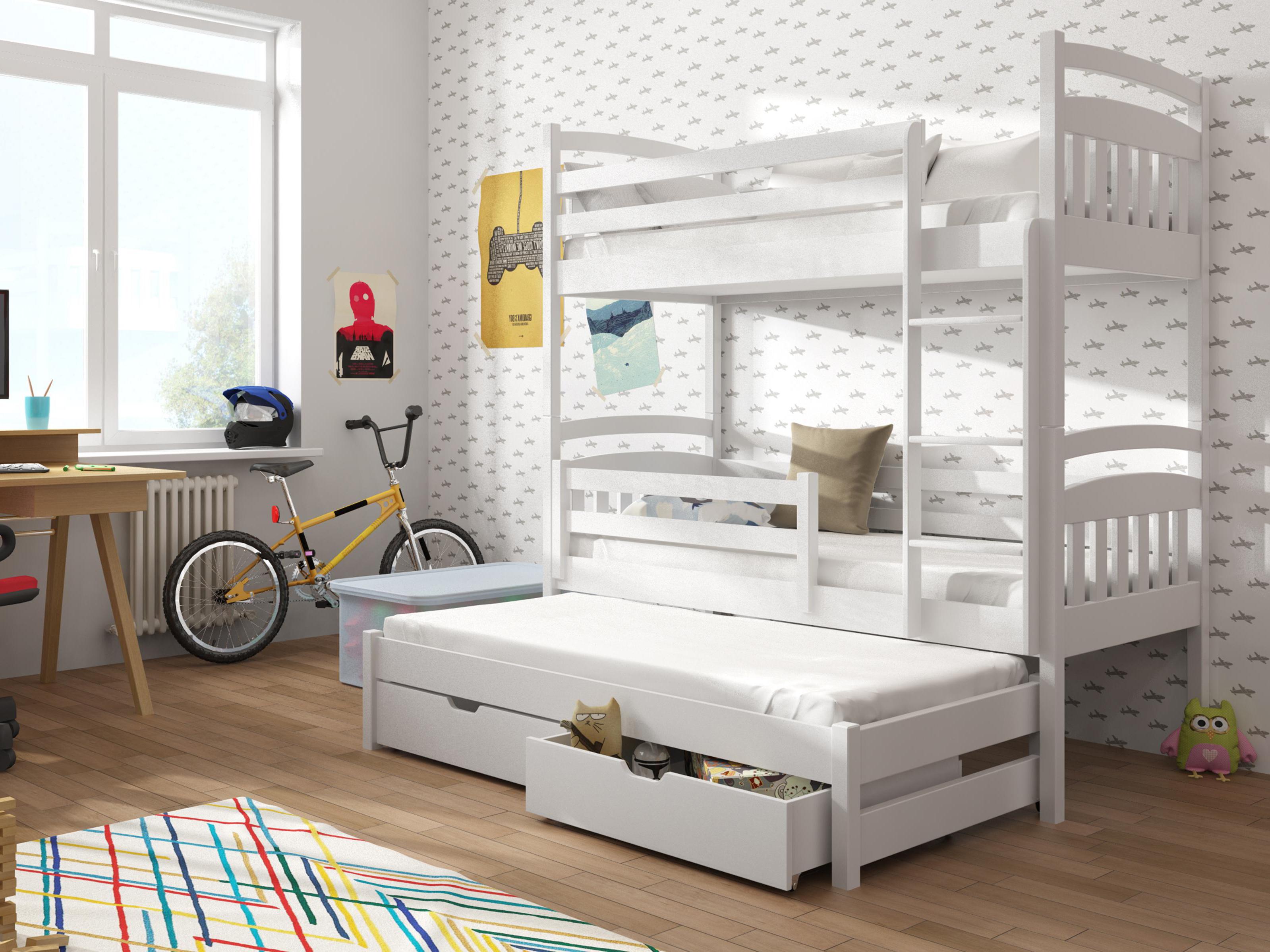 Dětská patrová postel 90 cm - Anie (bílá)