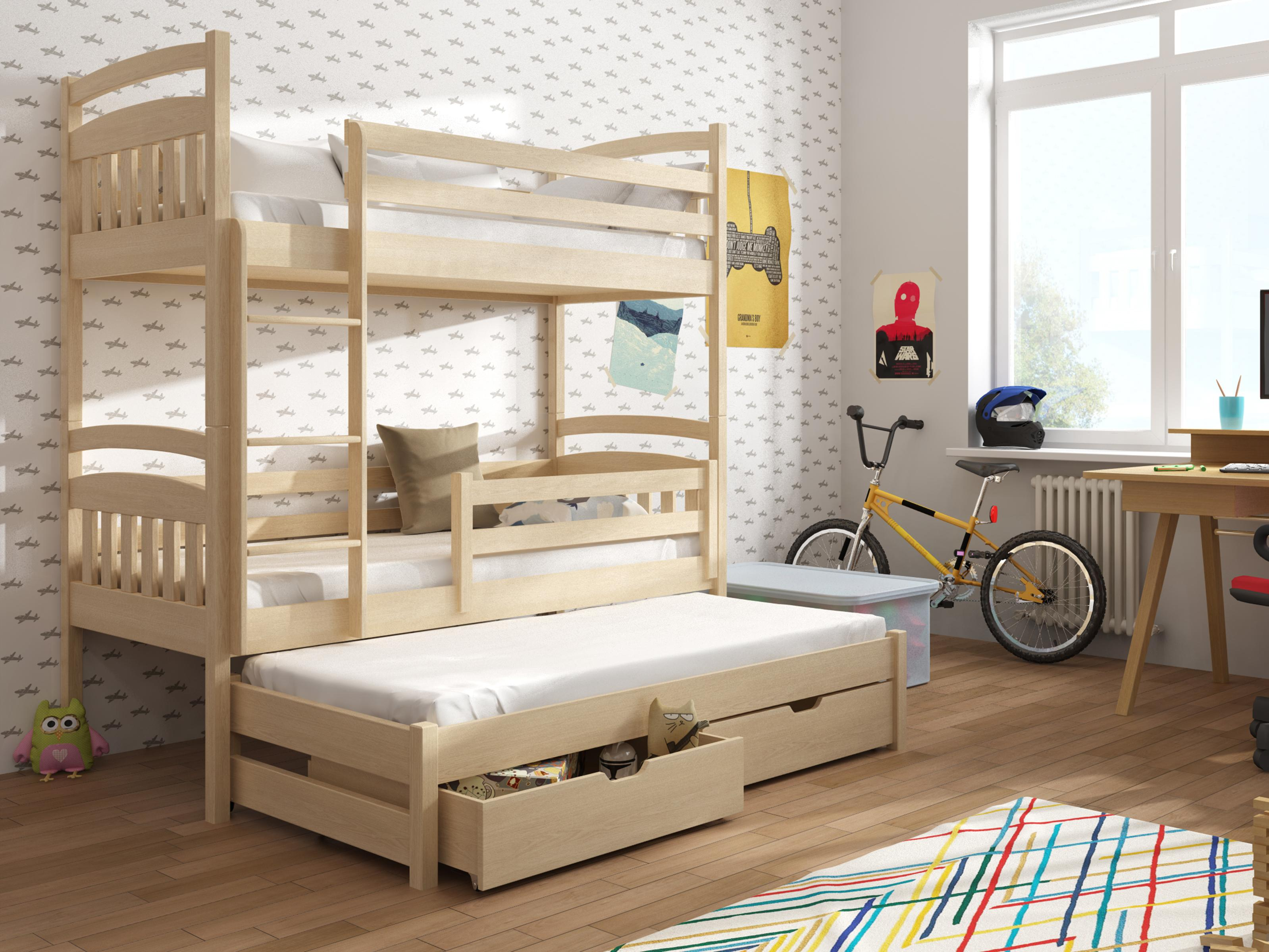 Dětská patrová postel 90 cm - Anie (borovice)