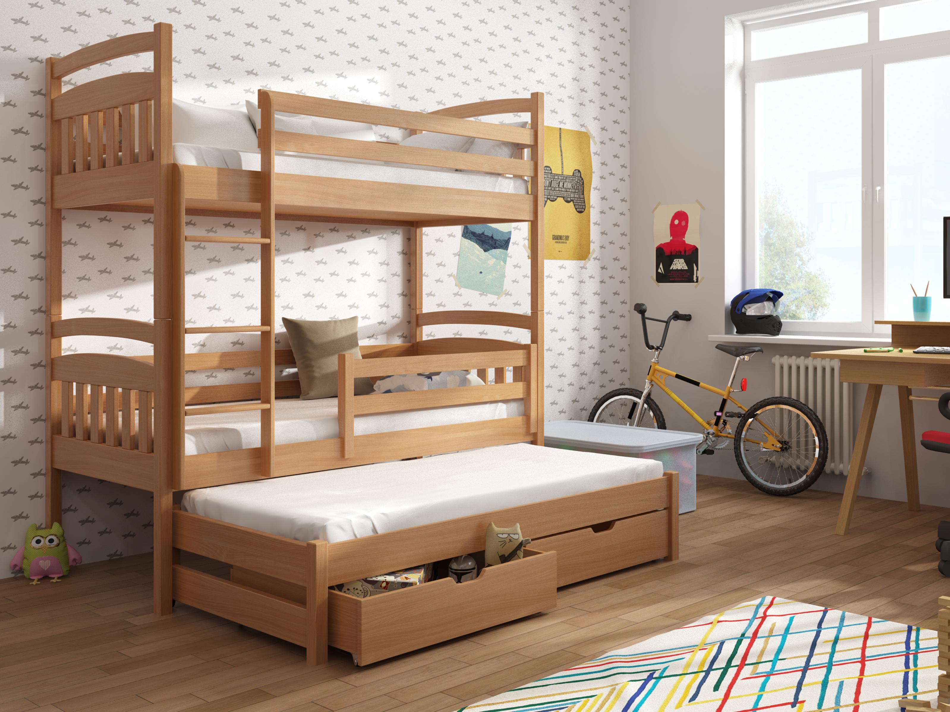 Dětská patrová postel 90 cm - Anie (buk)