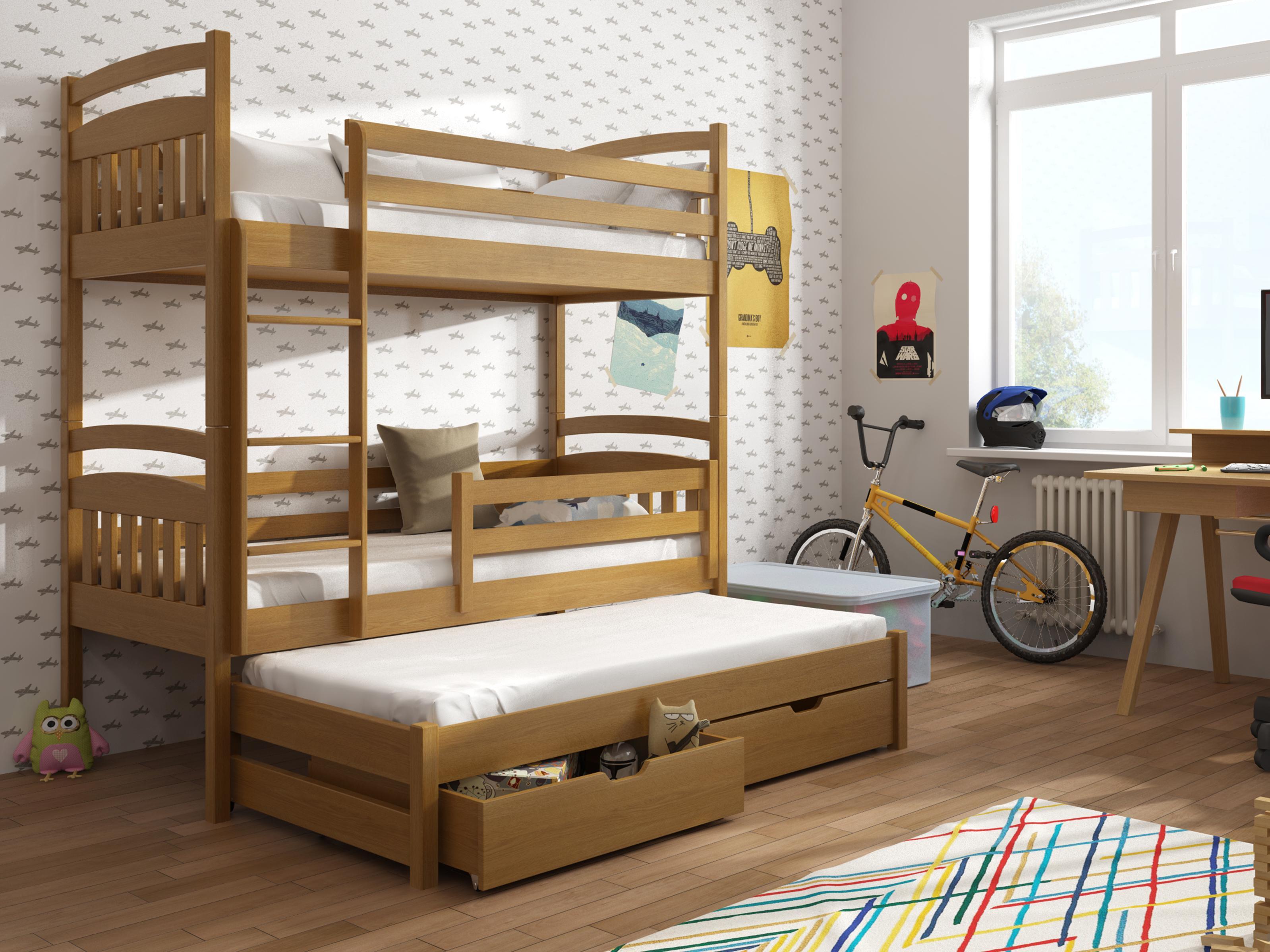 Dětská patrová postel 90 cm - Anie (dub)