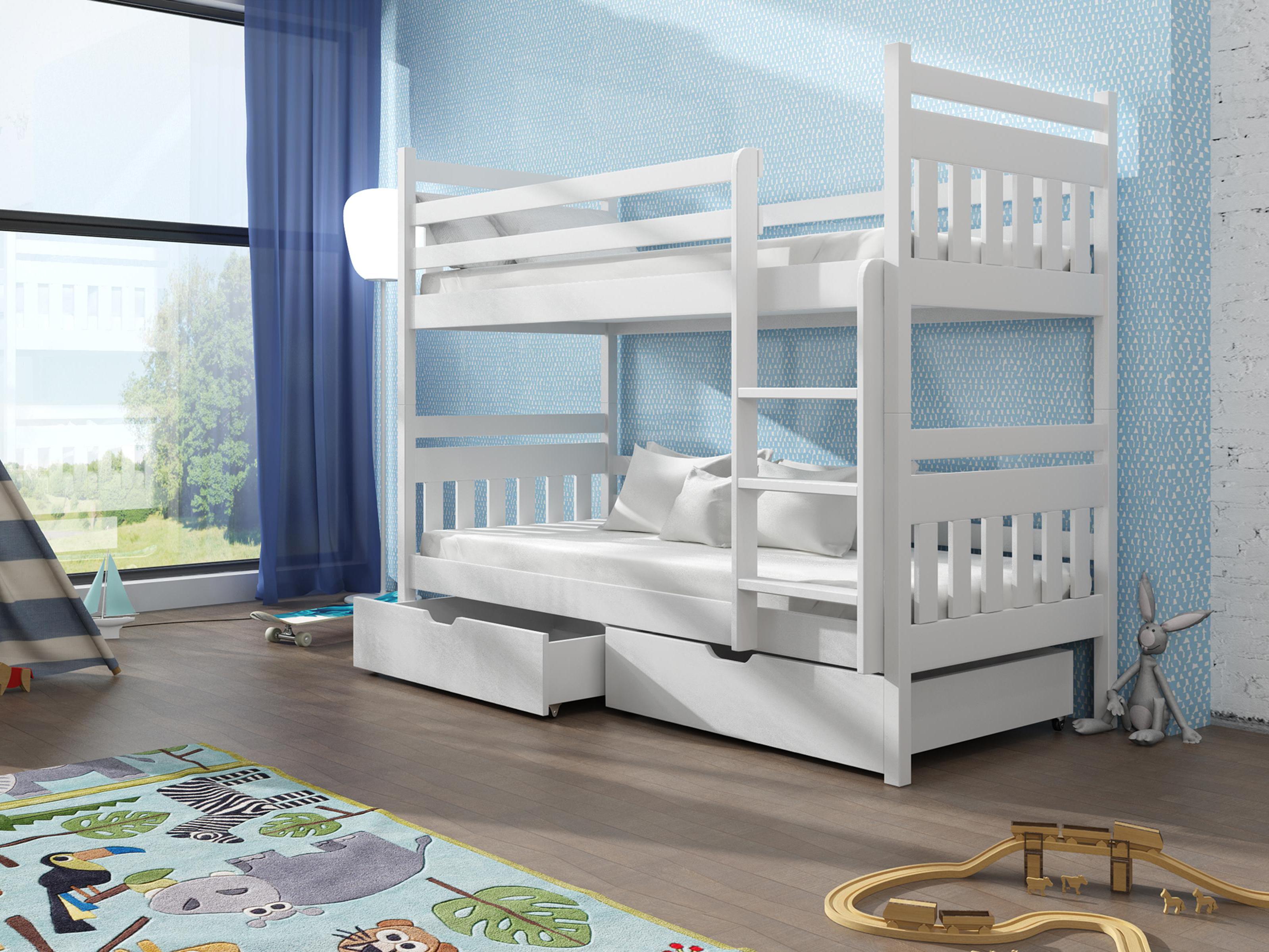 Dětská patrová postel 90 cm - Aras (bílá)