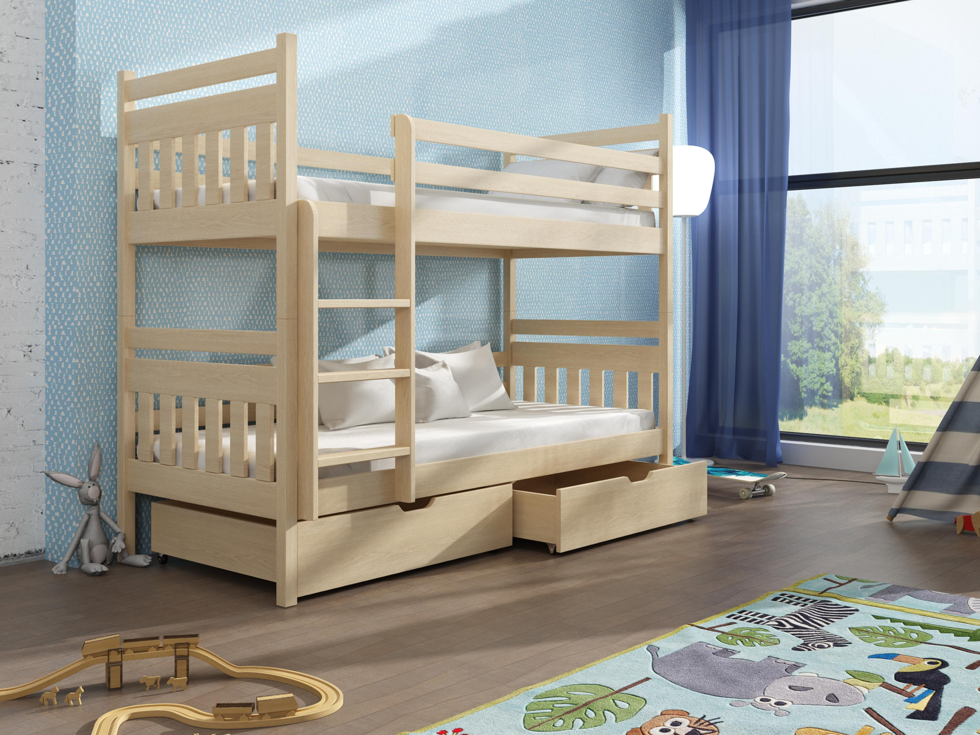 Dětská patrová postel 90 cm - Aras (borovice)