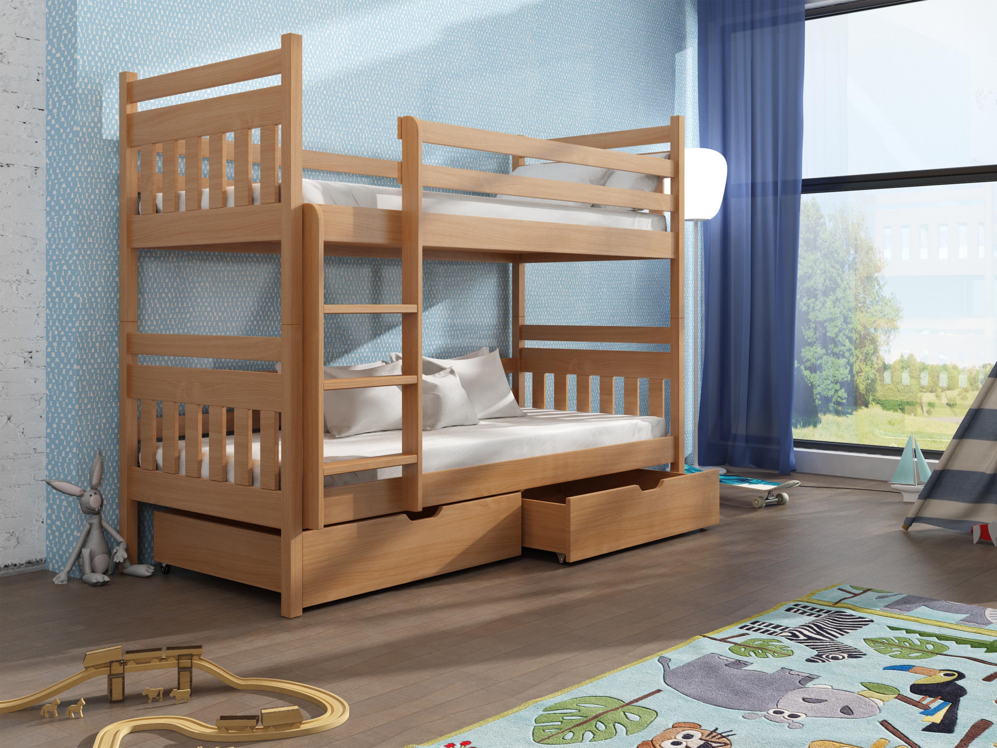 Dětská patrová postel 90 cm - Aras (buk)