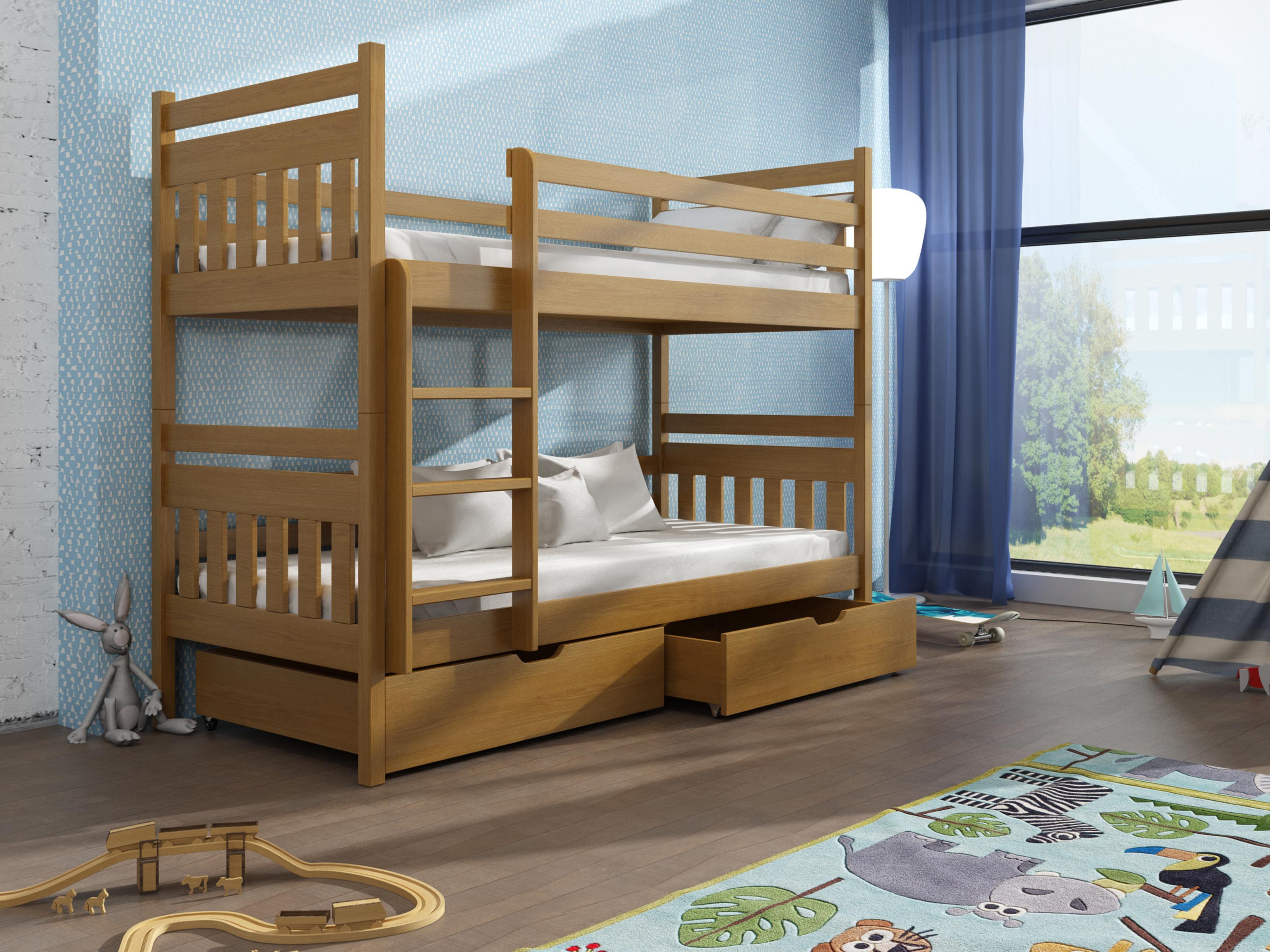 Dětská patrová postel 90 cm - Aras (dub)