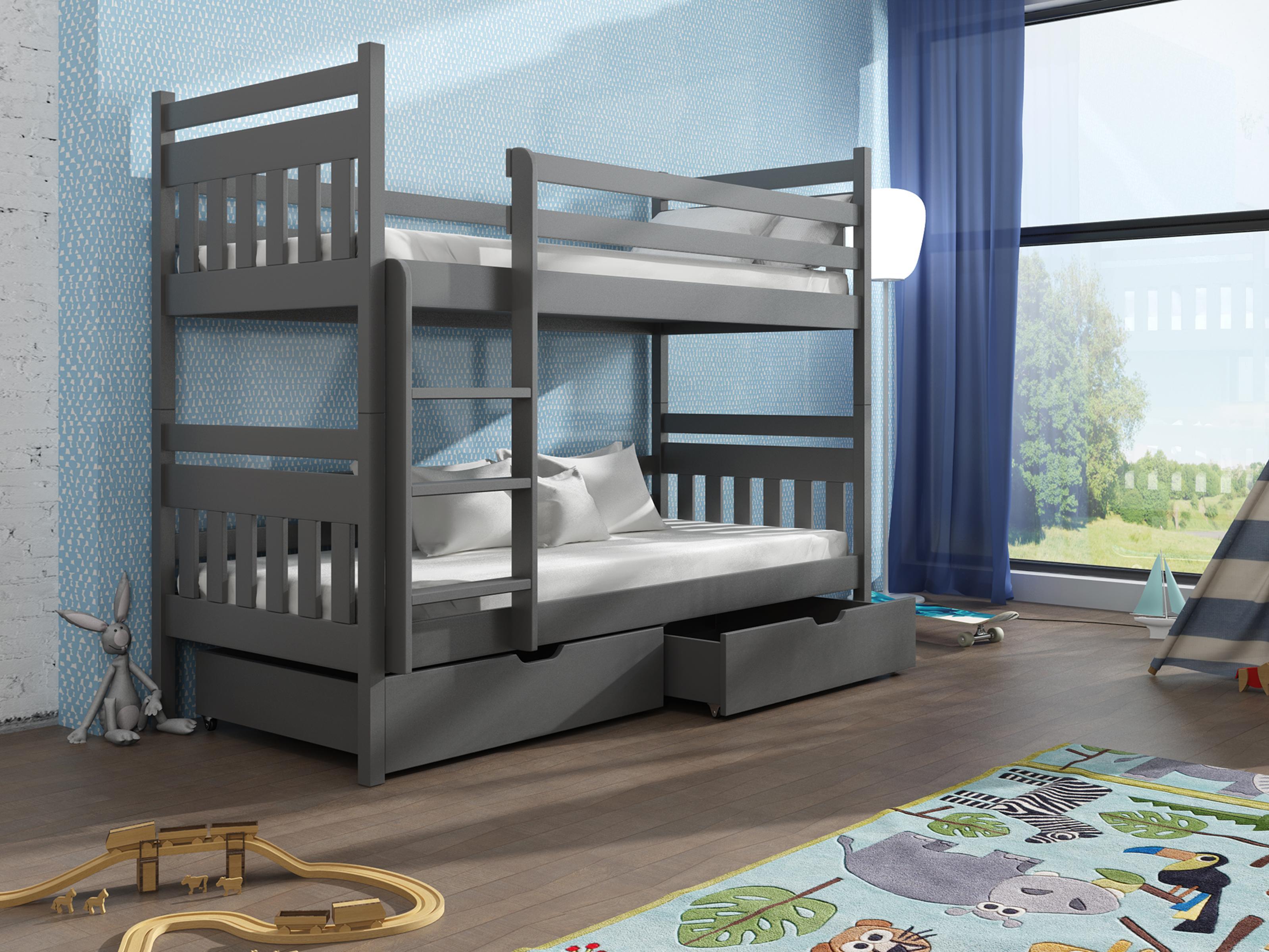 Dětská patrová postel 90 cm - Aras (grafit)