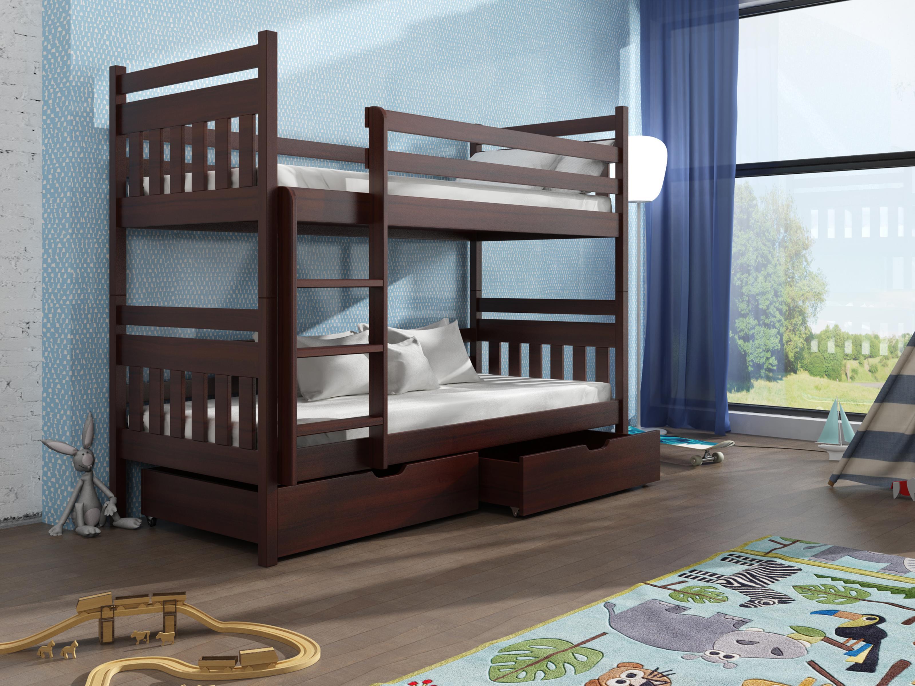 Dětská patrová postel 90 cm - Aras (ořech)
