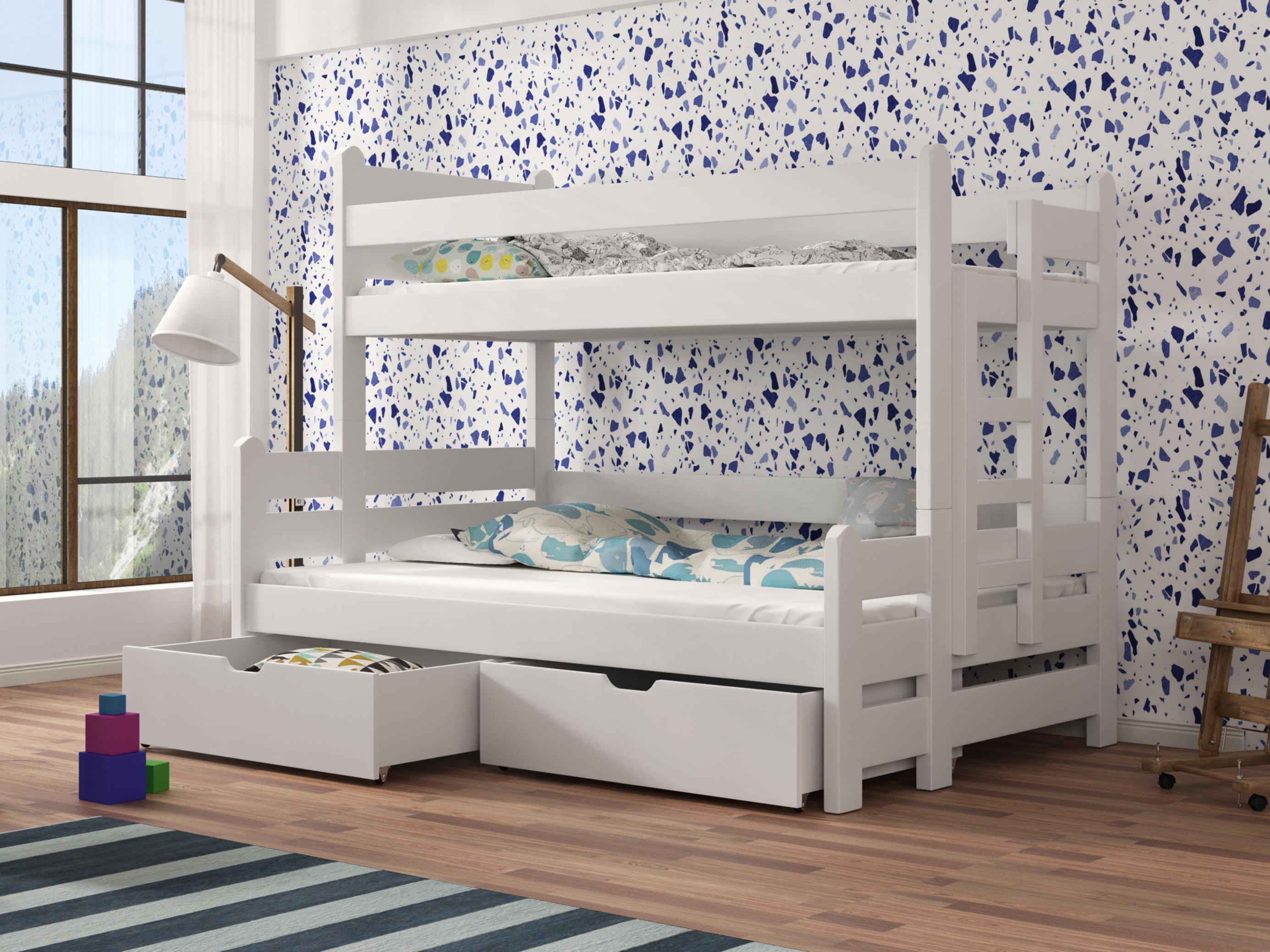 Dětská patrová postel 90 cm - Bivi (bílá)
