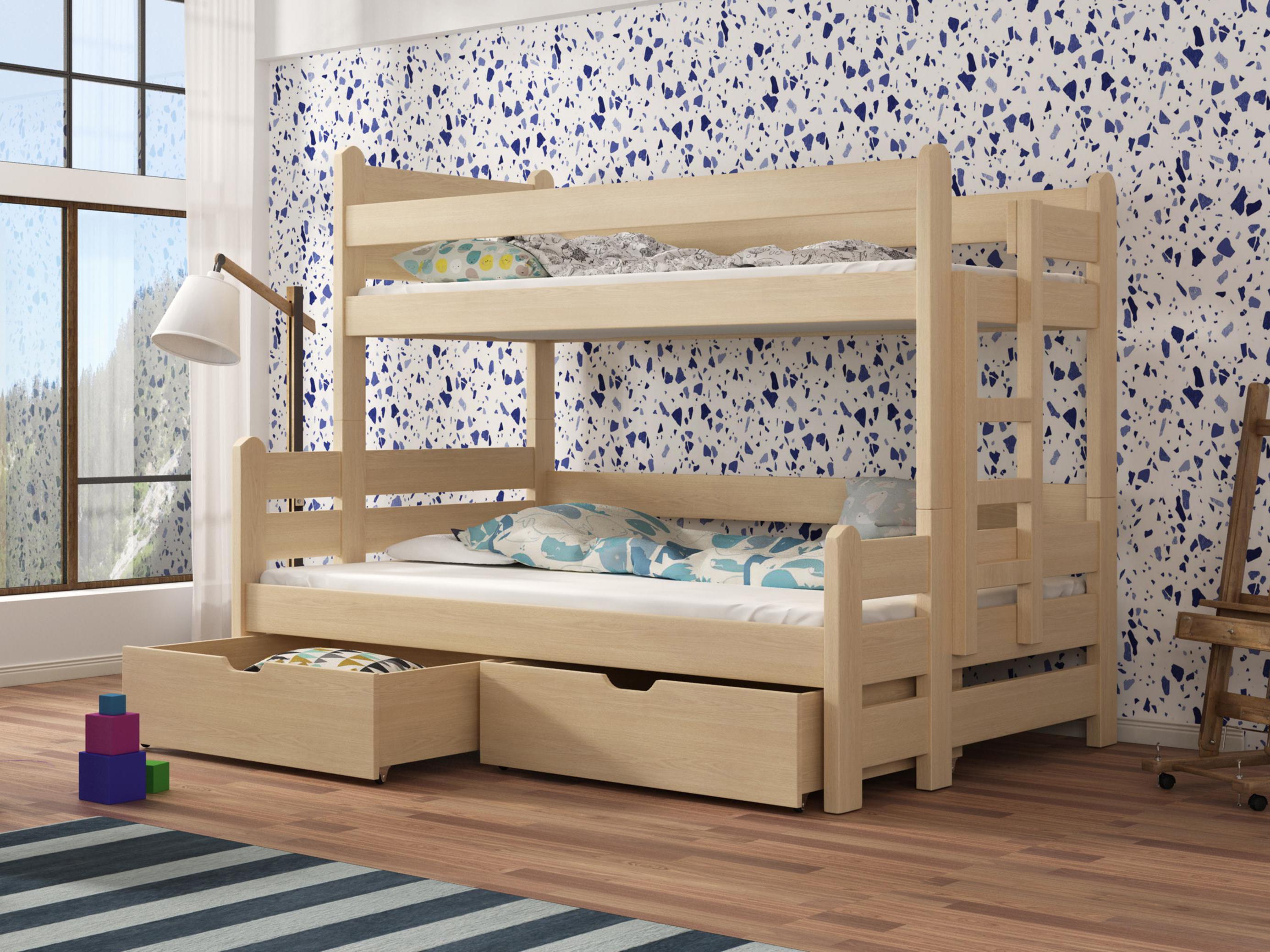 Dětská patrová postel 90 cm - Bivi (borovice)