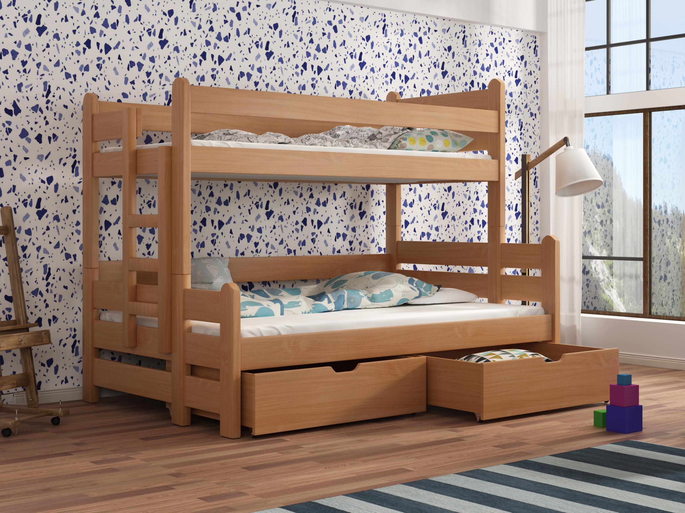 Dětská patrová postel 90 cm - Bivi (buk)
