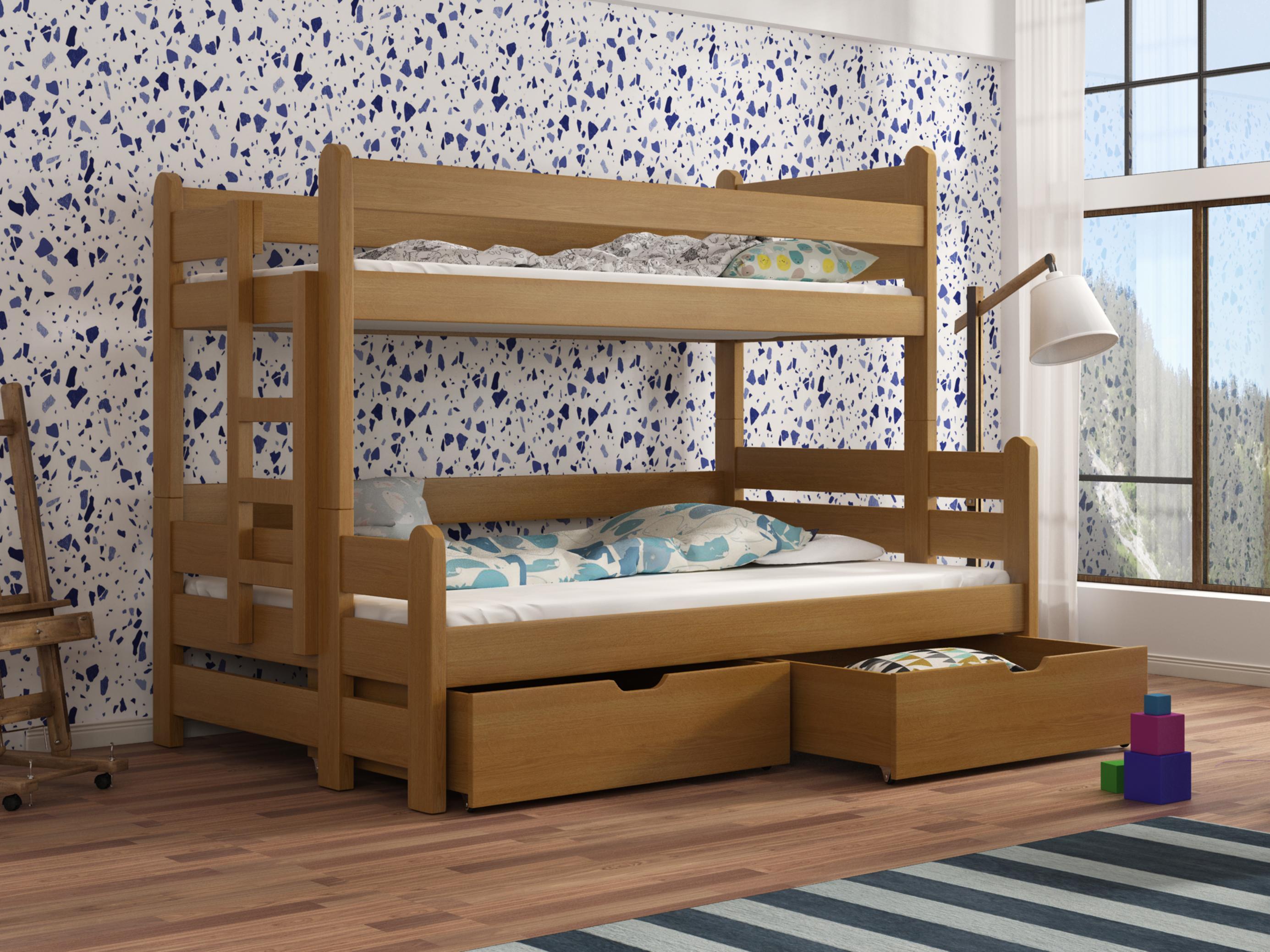 Dětská patrová postel 90 cm - Bivi (dub)