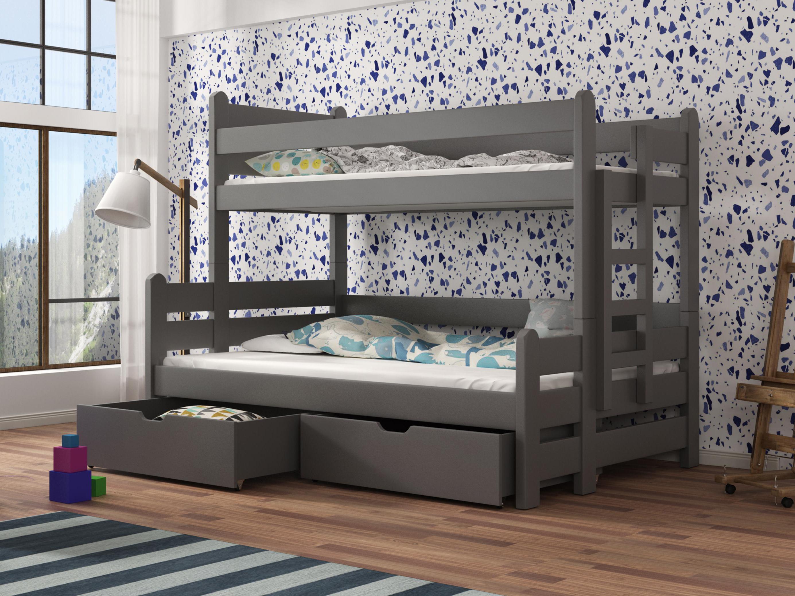 Dětská patrová postel 90 cm - Bivi (grafit)