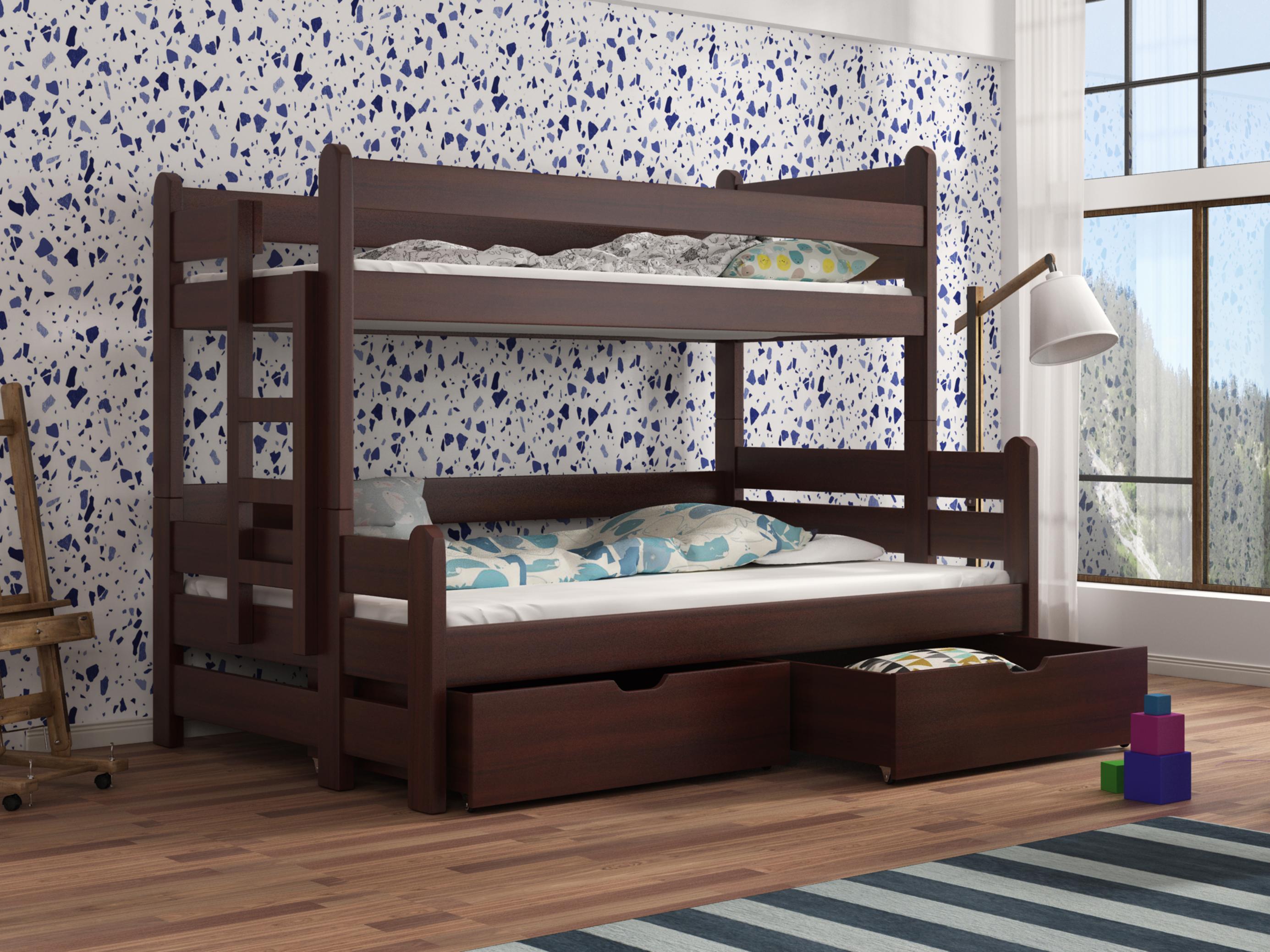 Dětská patrová postel 90 cm - Bivi (ořech)